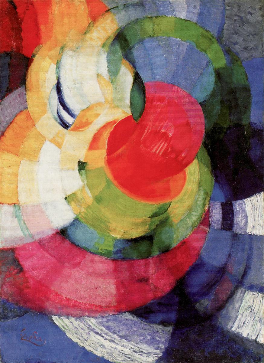 Frantisek Kupka  Disks of Newton, Study for Fugue in Two Colors, 1911 Oil on canvas, 73.6 x 77.5 cm Philadelphia Museum of Art, Philadelphia, PA, US