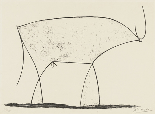 Pablo Picasso   Le Taureau, 1946  The series of pictures below show the sequence Picasso made to finally reach his illustration.