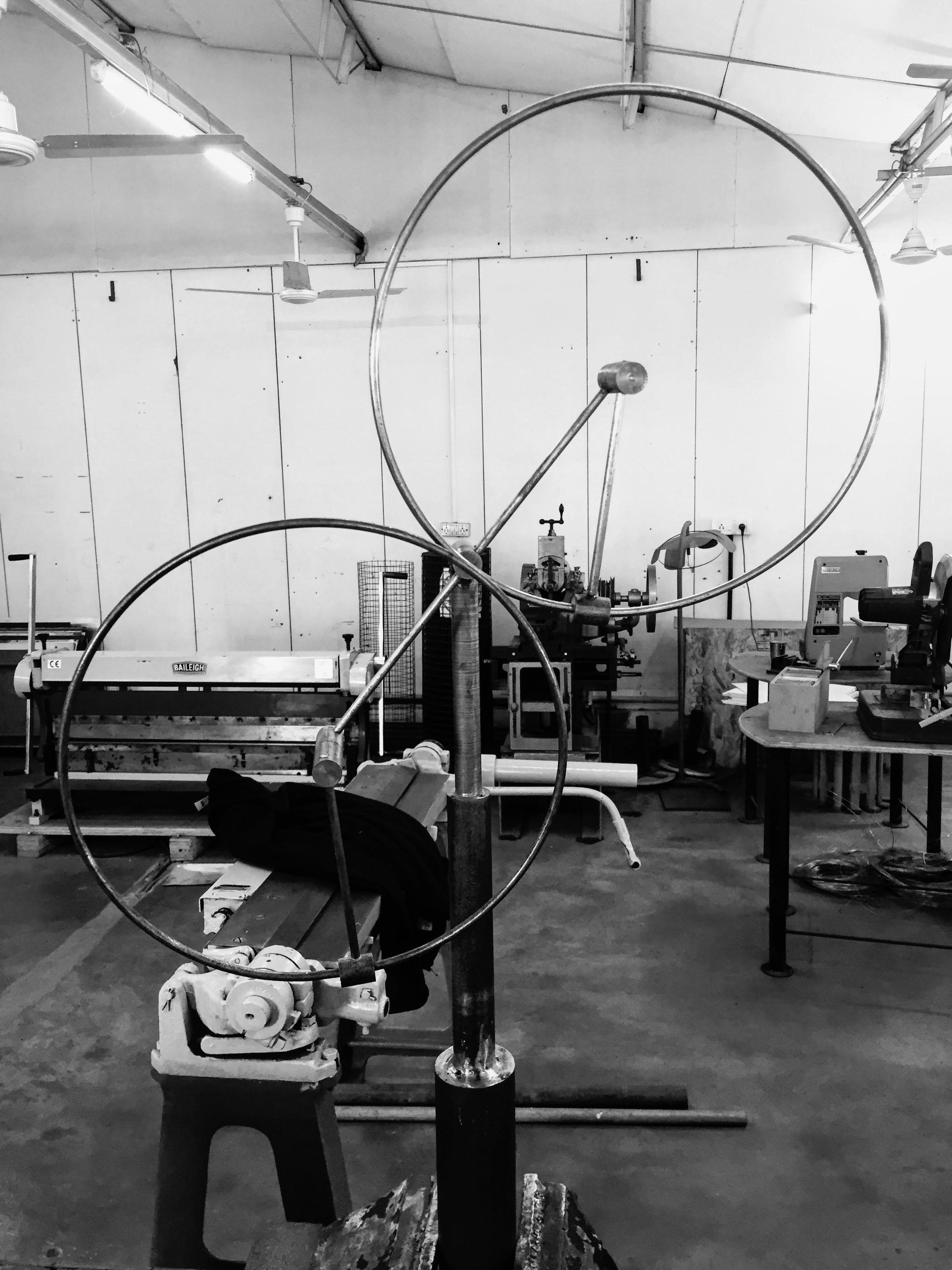 Kinetic Sculpture: Week 2   Course exploration of second week of Kinetic Sculpture. Replication of Anne-Lily's  Conductor-Composer.   Mentor:  Prof Ranjit Konkar, Vivekananda sir  Team: Sarwesh Shah, Shafali Jain