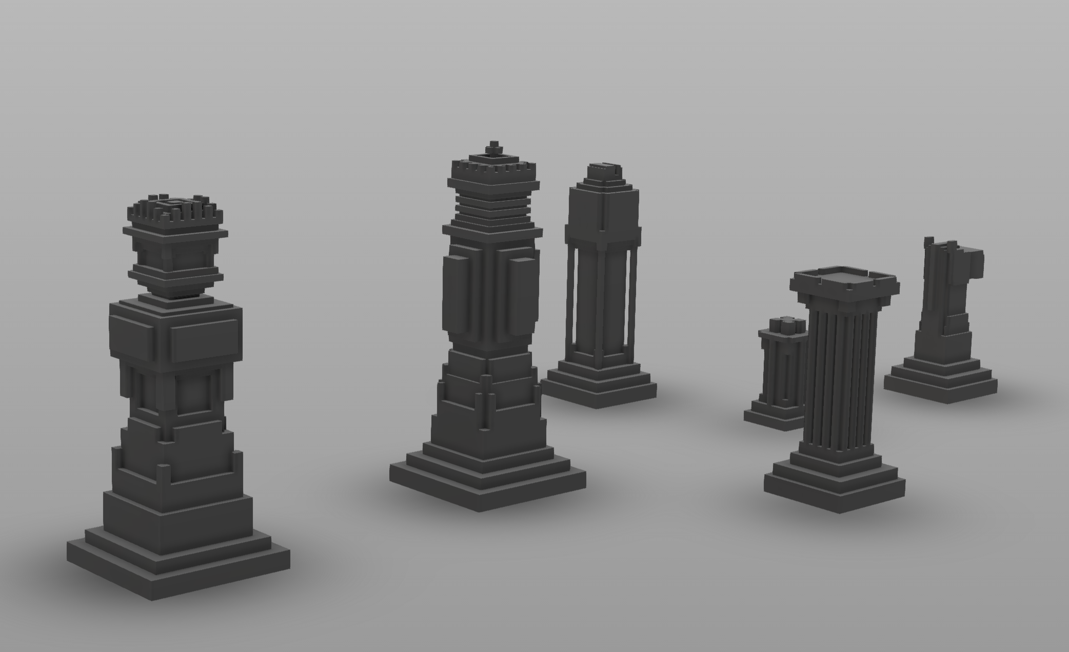 3D Printing: Cuboidal Chess piece   First hand interaction with Autodesk Fusion 360, Print Studio. Modelled chess pieces with a self-constraint of putting no curves. Hope you like it!   Software:  Autodesk Fusion 360, Print Studio