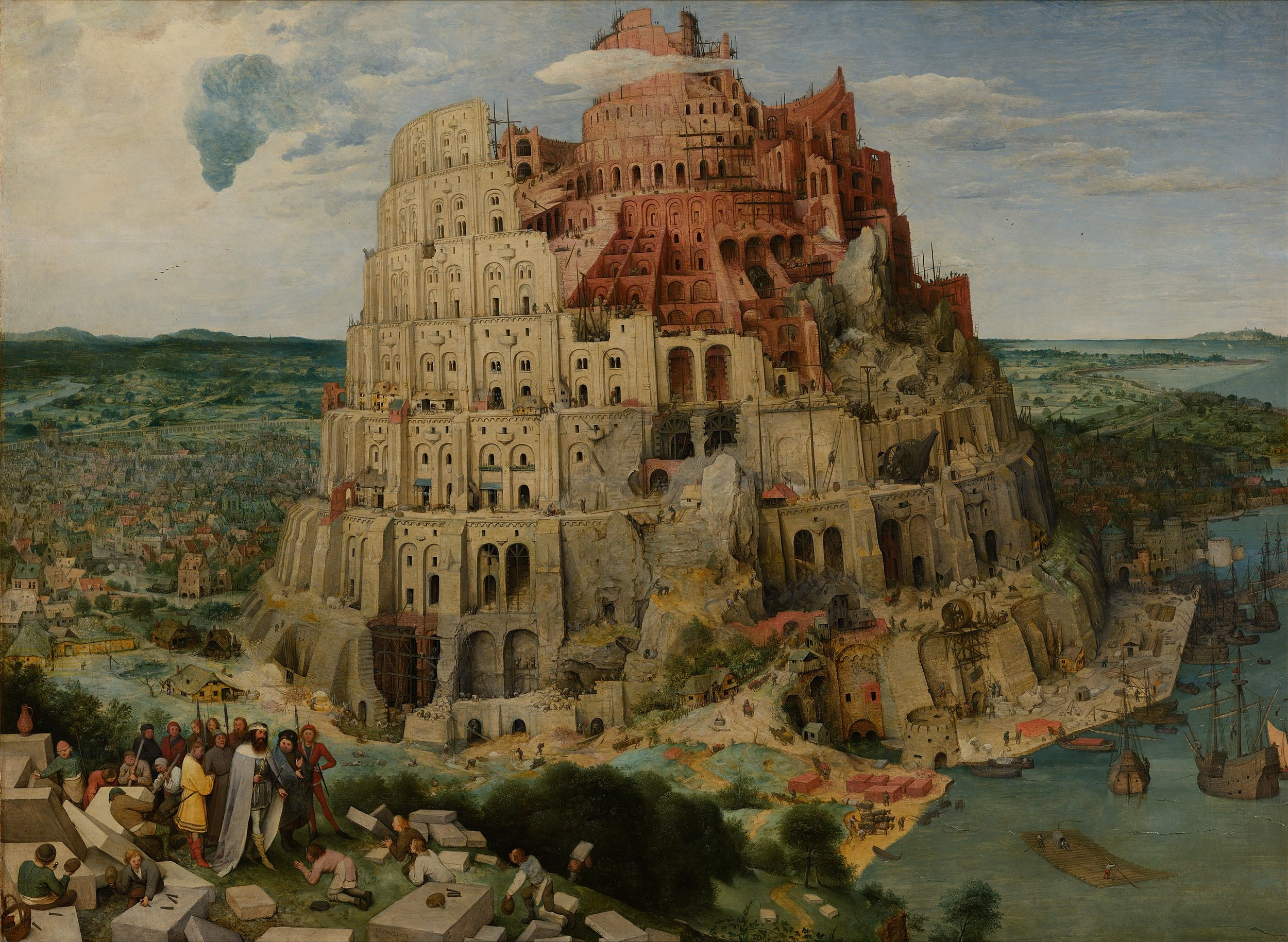 According to the story of Babel, a united  humanity  in the generations following the  Great Flood , speaking a single language and migrating westward, comes to the land of  Shinar  (שִׁנְעָר). There they agree to build a  city  and a  tower  tall enough to reach  heaven .  God , observing their city and tower, confounds their speech so that they can no longer understand each other, and scatters them around the world.