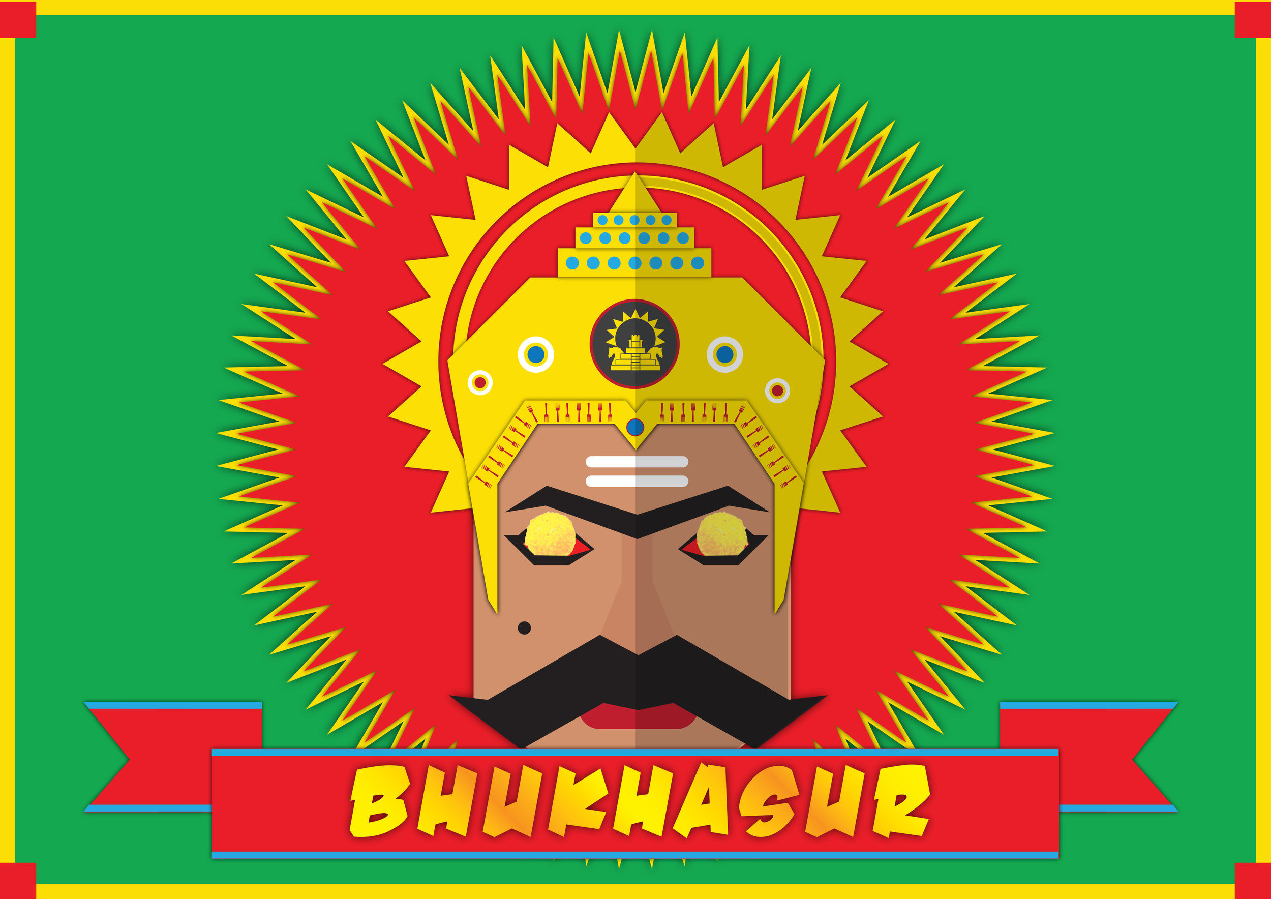 """""""Bhukhasur"""" in Hindi is a playful combination of two words """"bhukha"""" and """"asura"""" means a demon that is always hungry."""