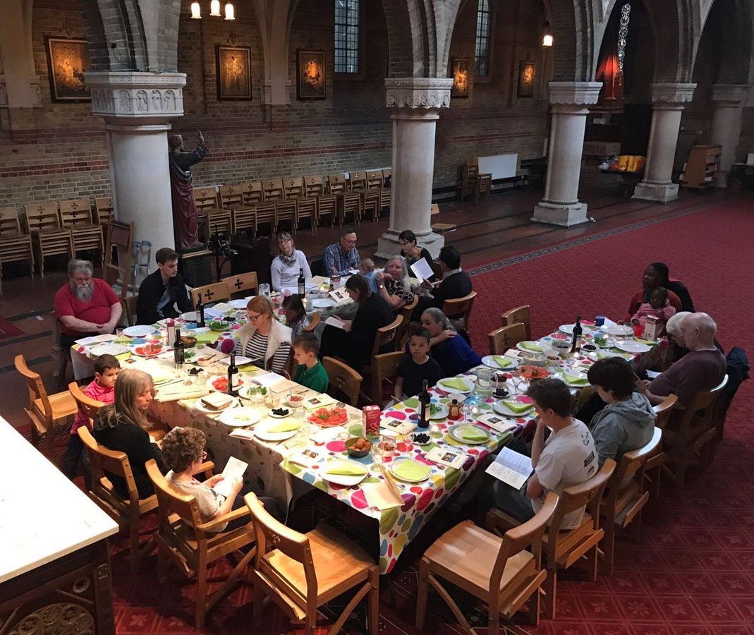 All ages sharing a Seder meal at St Peter's, to remember Jesus' last supper.
