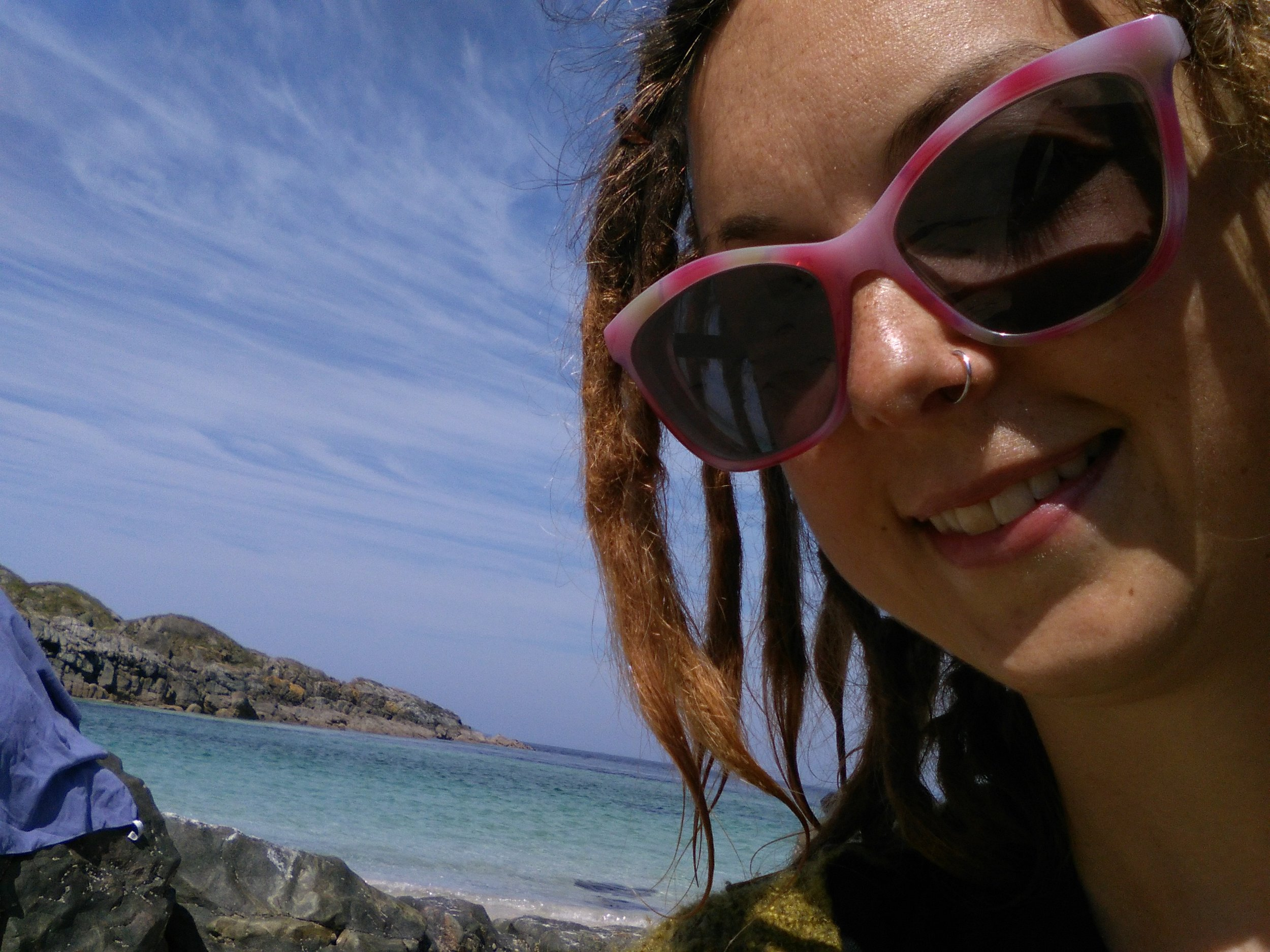 Jenny loving the sun after a swim on Iona!