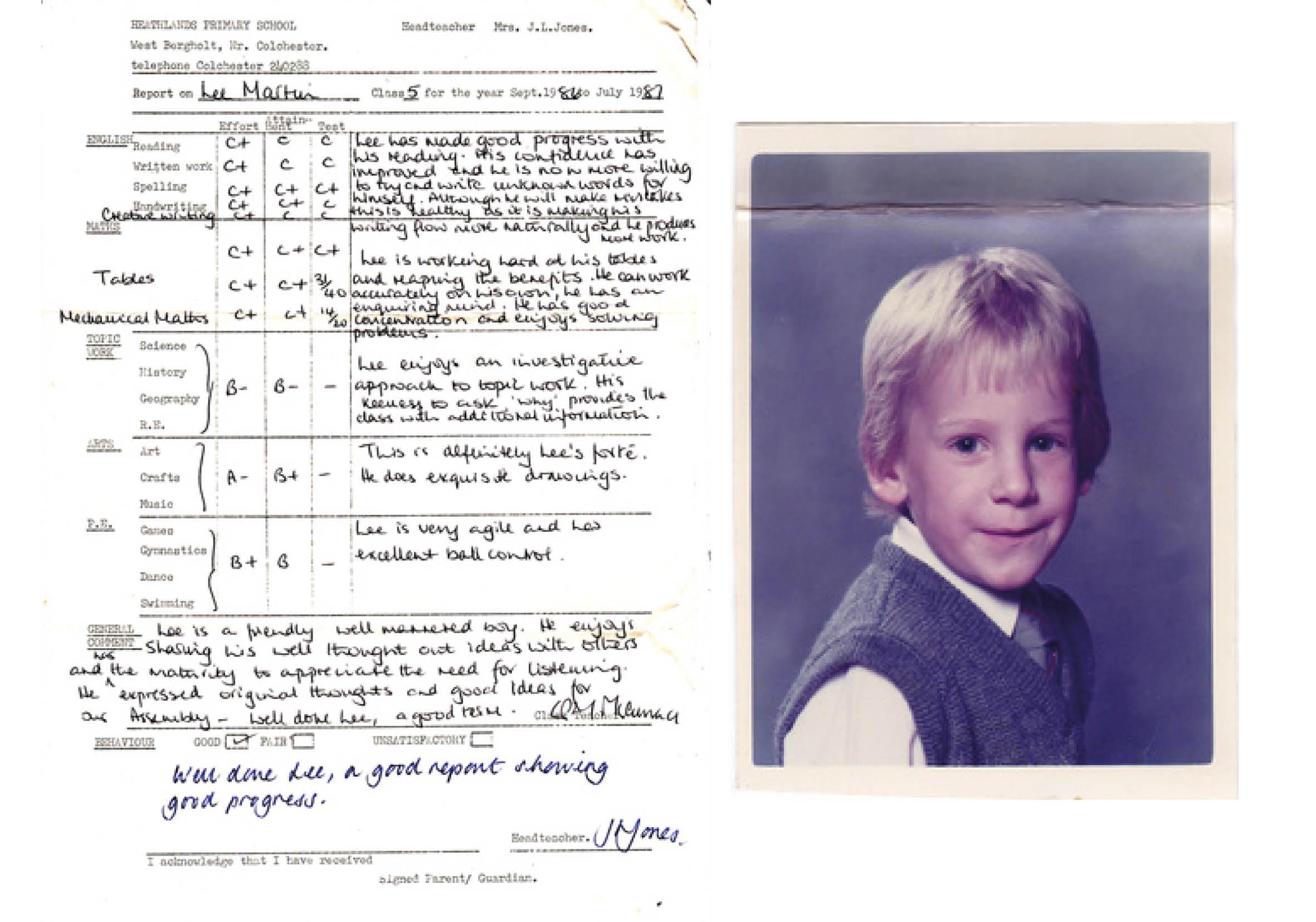 Heathlands School report 1987.
