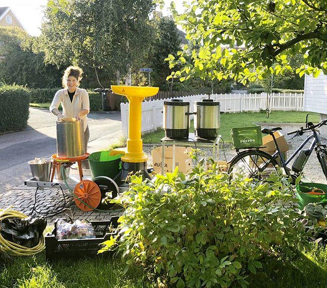Tack alla ni, och 2018, för ett härligt och fruktsamt år!  Vi tillverkade totalt 3 872 liter must på frukt från lokala trädgårdar i Göteborg, varav många vi cyklade ut till med musteriet.  Samtidigt fortsatte vi som vanligt med att göra trädgårdar sköna och charmiga i trädgårdsmästarens anda.  Ett av våra mål är att bli så miljömässigt hållbara som vi kan. Under 2019 kommer vi därför införskaffa en gasbil, så vi kan köra på lokal tillverkad fossilfri biogas från sopor. Så himla gött!  På bilden är bästa Paulin som oftast körde och kämpade musteriet i höstas! Tack André och Sara som varit med och levererat med kraft och kunskap i trädgårdarna. Och tack alla kunder, följare och vänner!  God fortsättning  Pontus och Lindens Trädgårdar  #musteri #trädgårdsmästeri #hållbart