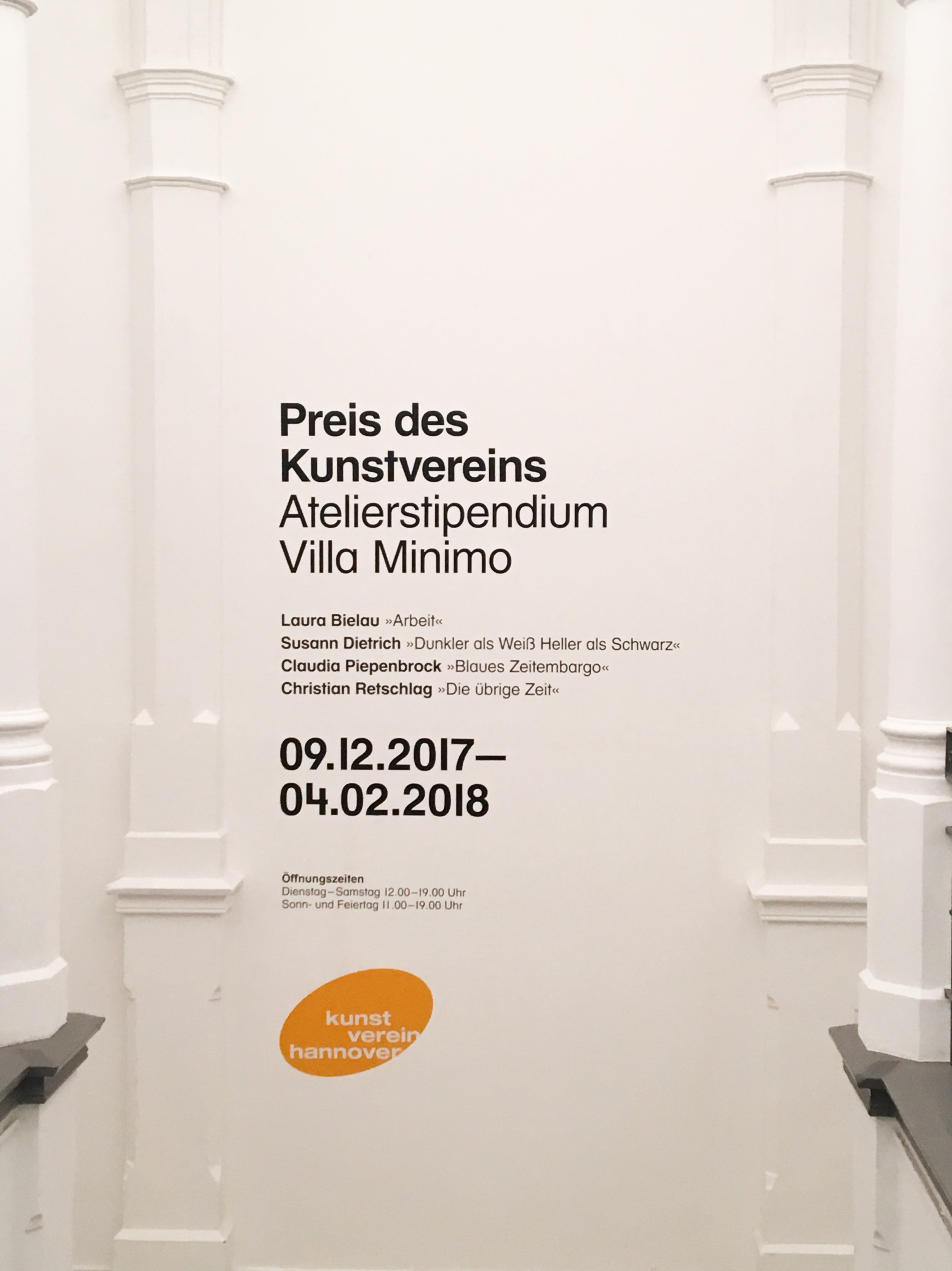 The list of exhibitions in the hall