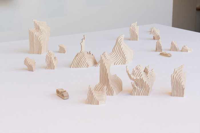 《アメリカ山水》 2017, ベニア板【参考作品】ギャラリーG(広島) Installation view
