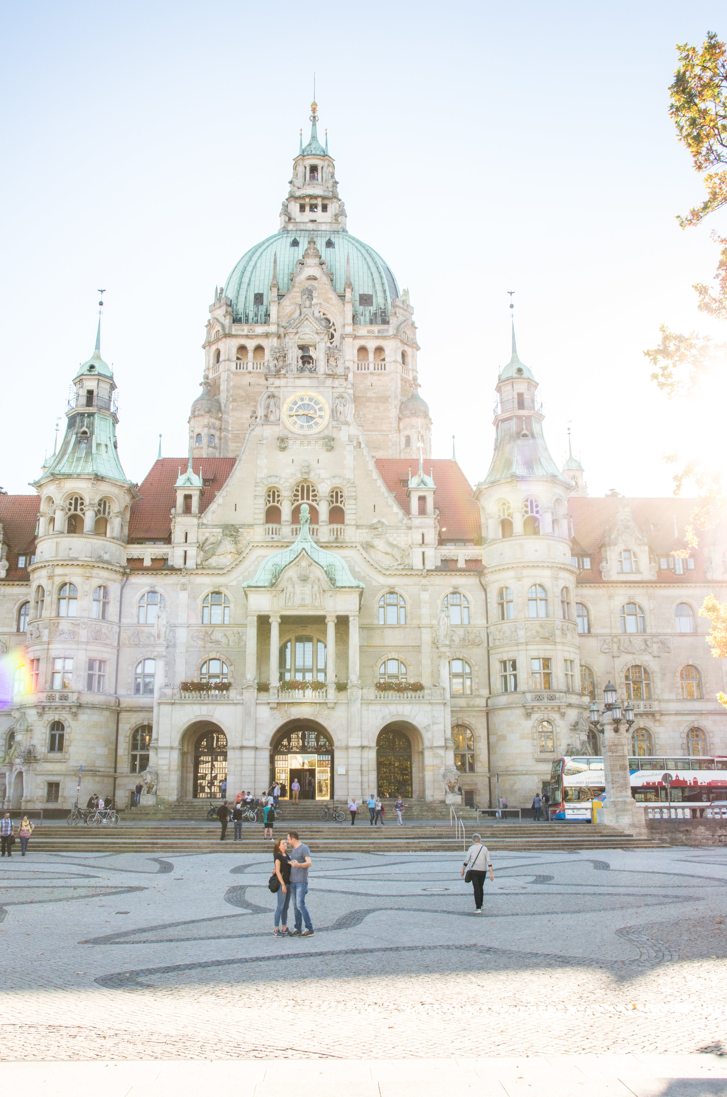 In front of Rathaus, Sunny day