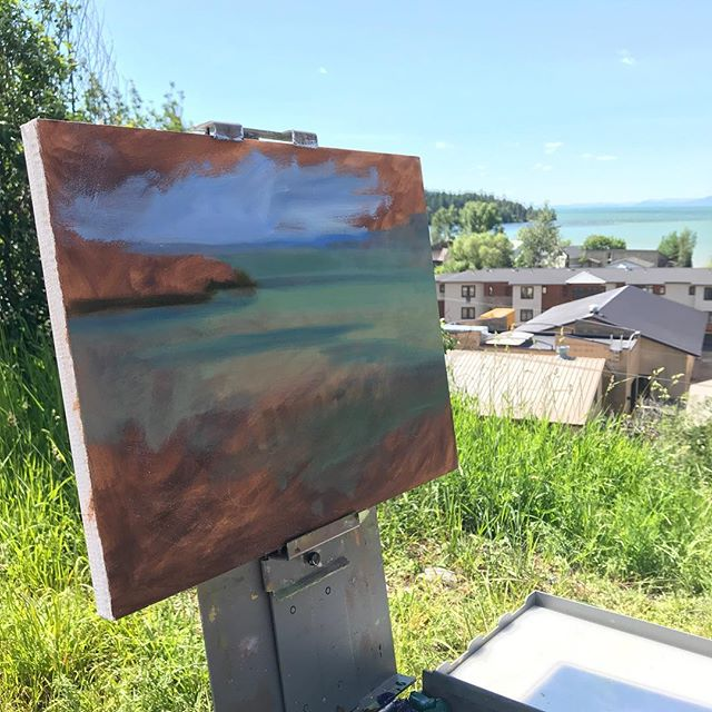 Taking some quick color notes on my way past the lake... #pleinair #wip #flatheadlake