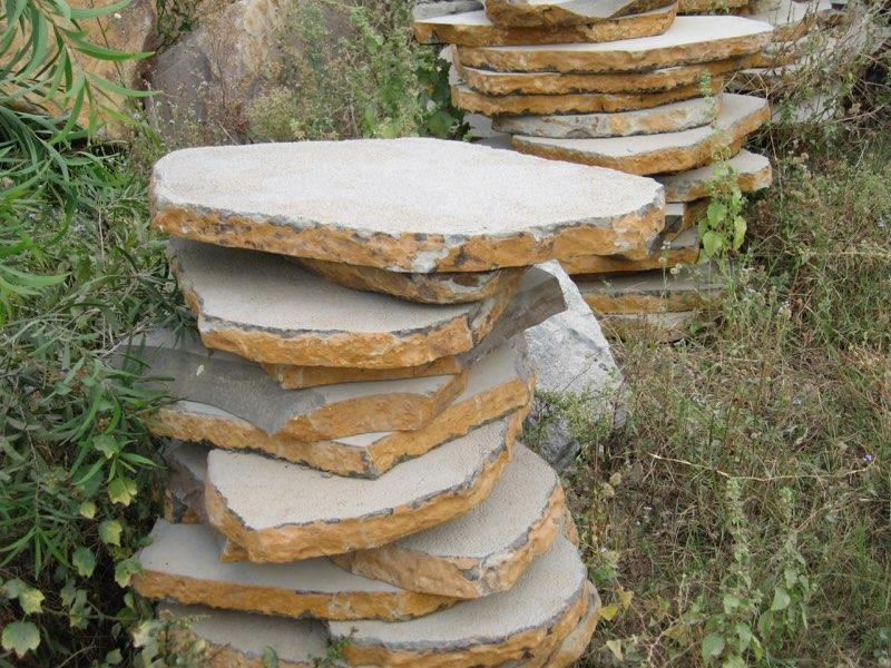 Bush Hammered Basalt Steps with Natural Edge
