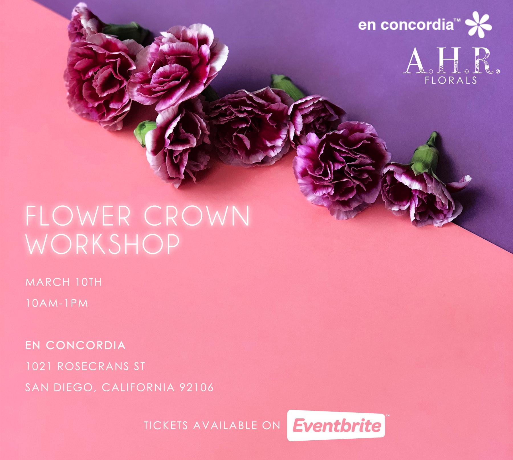 ahr florals en concordia flower crown workshop san diego
