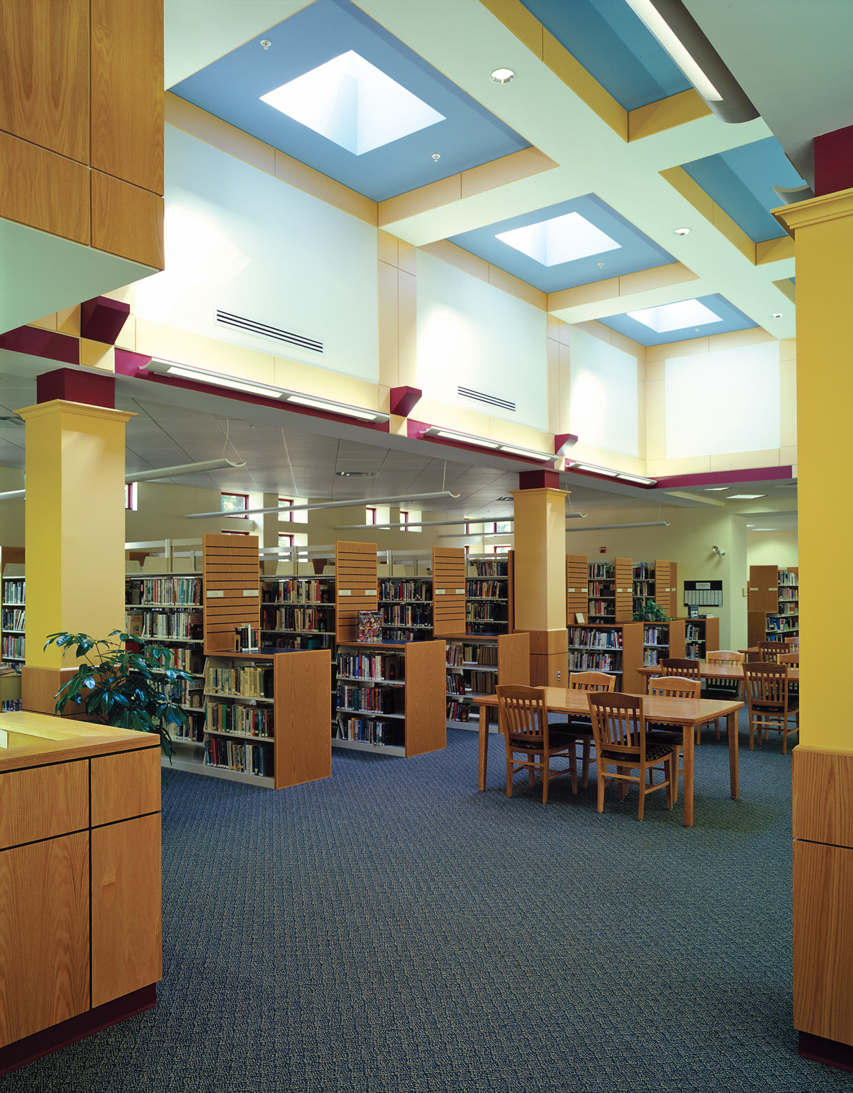 Natural light floods the reading room through tall windows and skylights.
