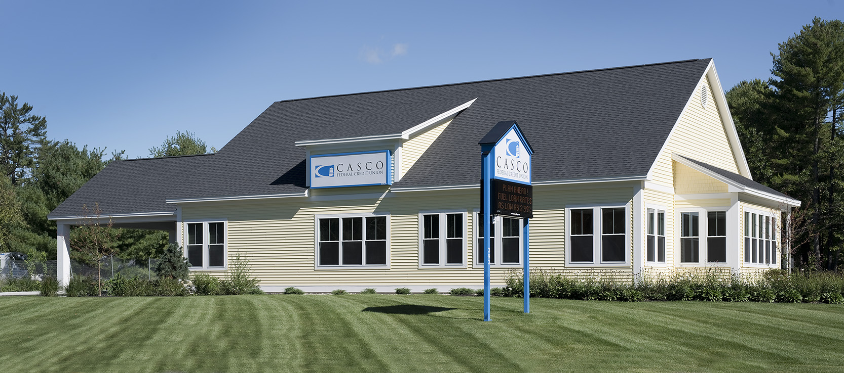 Casco Federal Credit Union, West Gorham, anchors a prominent corner site.
