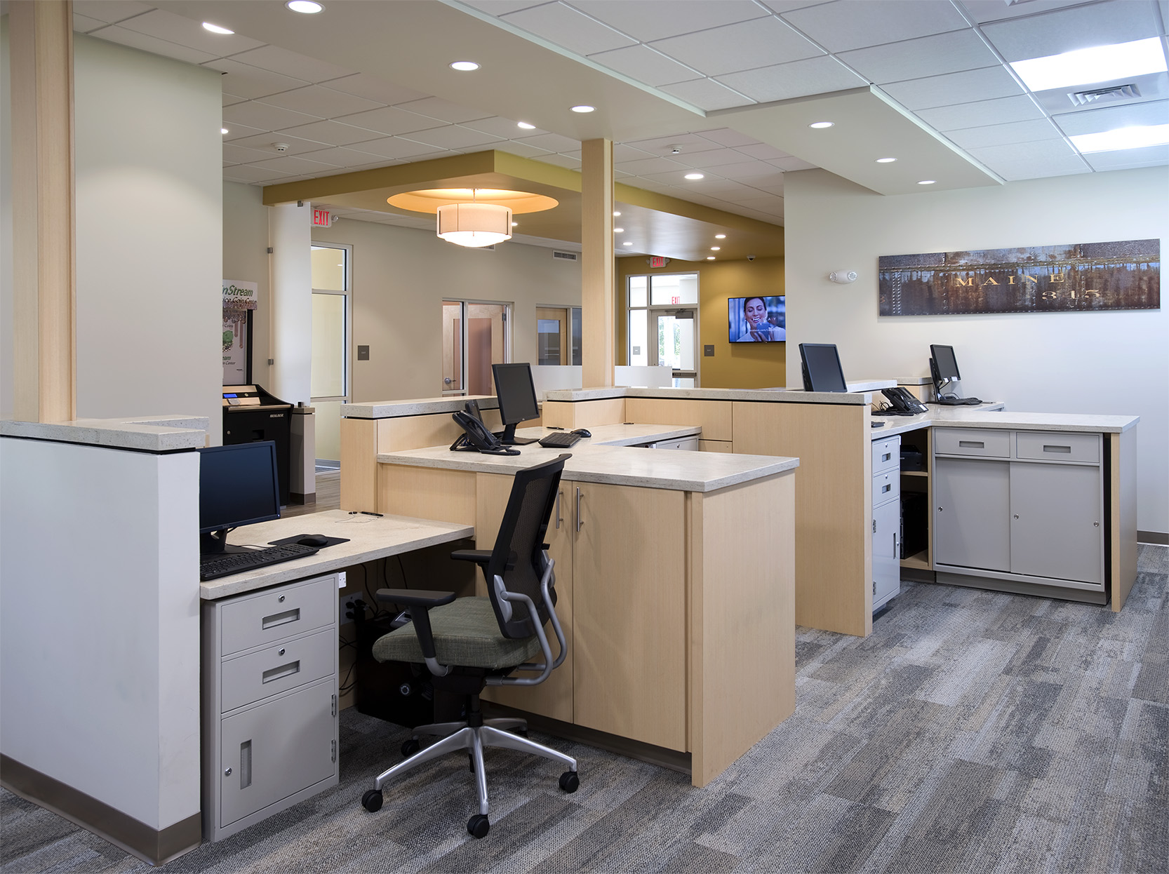 The expanded teller line accommodates member transactions more efficiently.