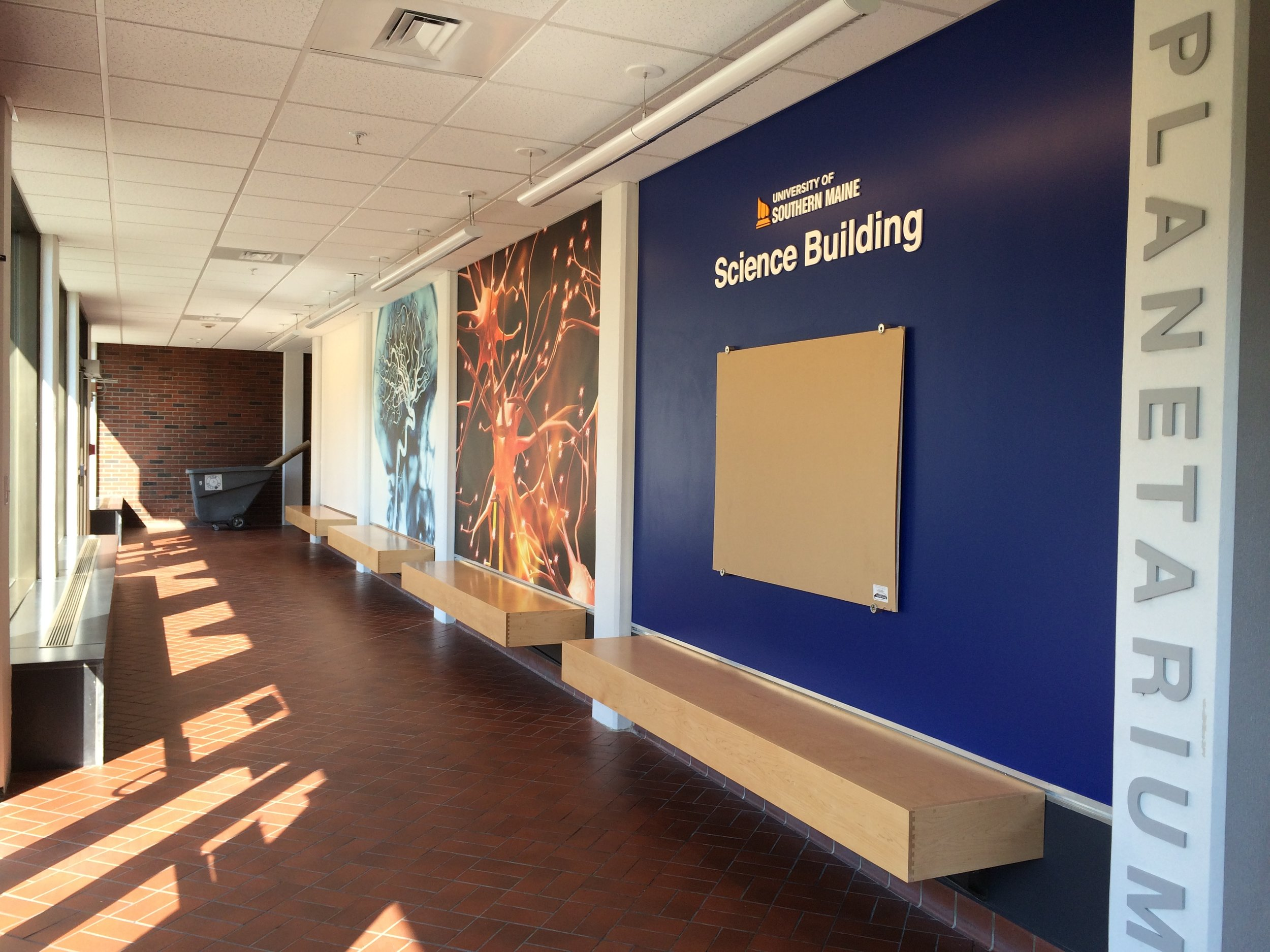 Intensely colorful and detailed images captivate school groups on their way downstairs to the Southworth Planetarium.
