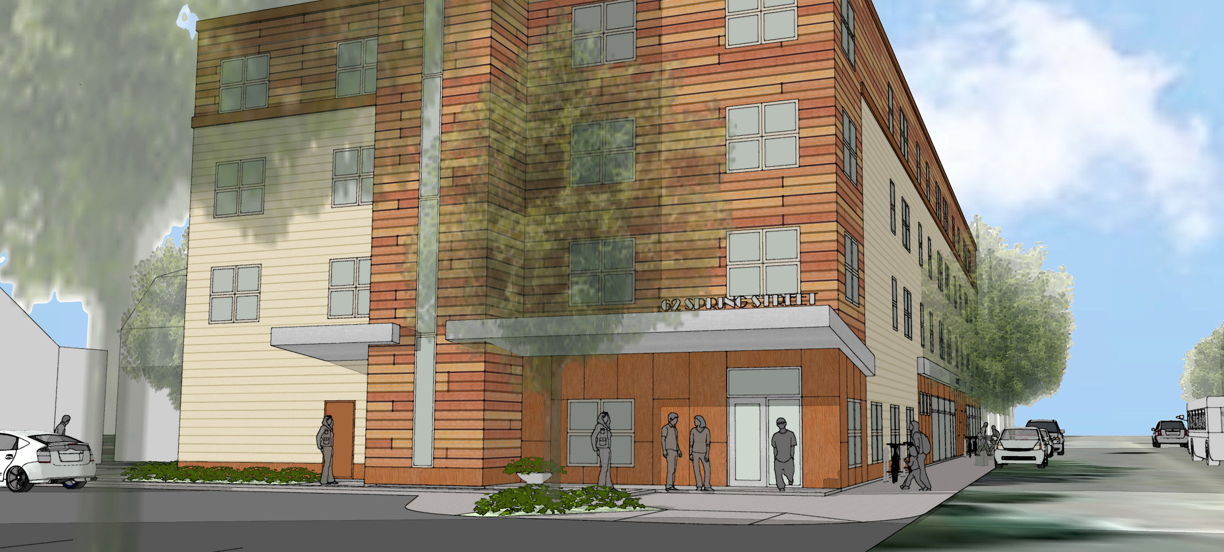 This new 4-story apartment building will introduce 41 market rate apartments and a small retail space just down the street from a new public transportation terminal.