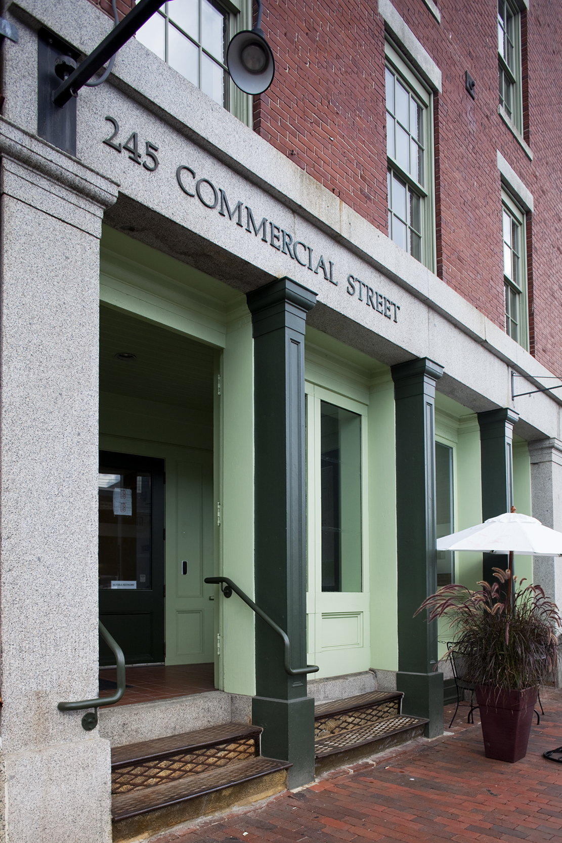 The front of the building received a light-touch renovation, with a new color scheme approved by the Historic Preservation Commission.