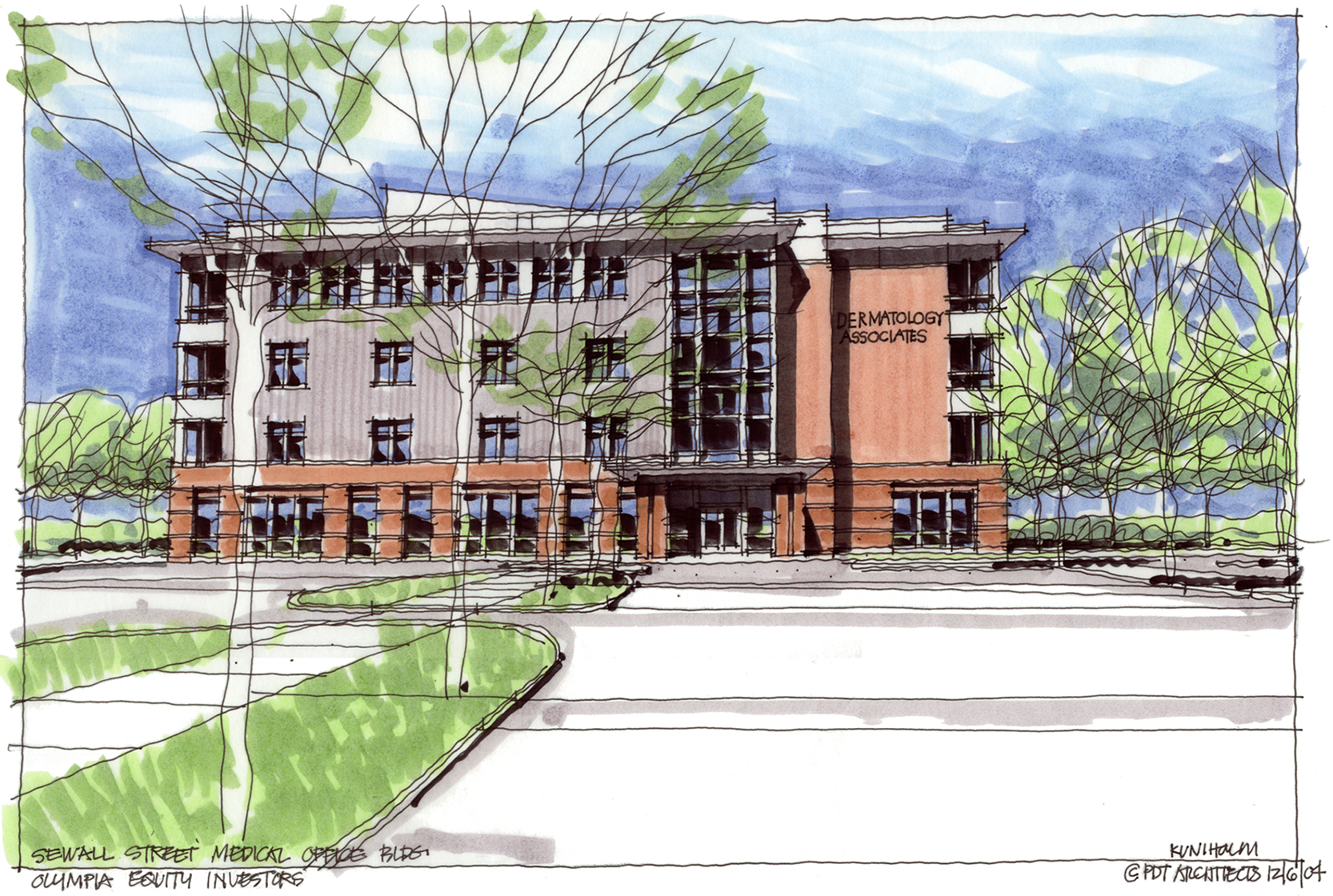 PDT uses hand-drawn sketches to communicate the design intent to the client. This one is by Principal Alan Kuniholm.