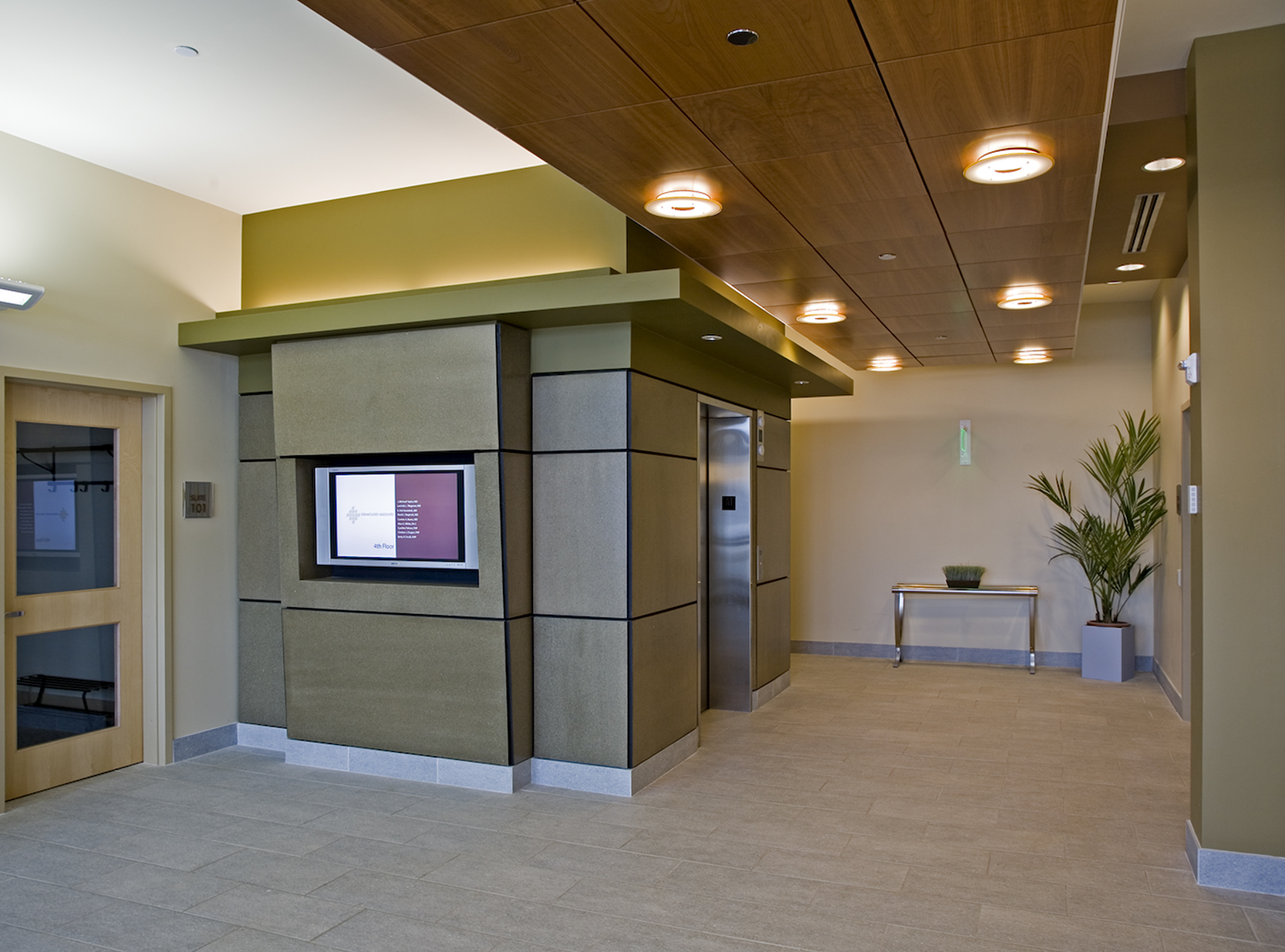 The lobby is finished with green and recycled materials.