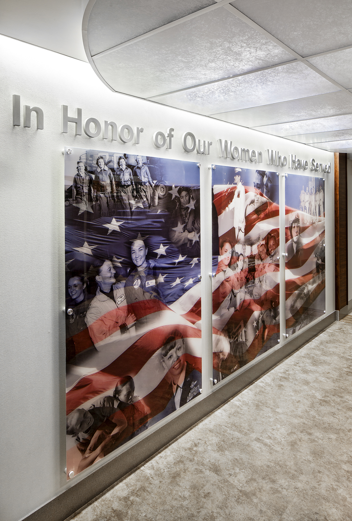 Graphics honor women in the armed services.
