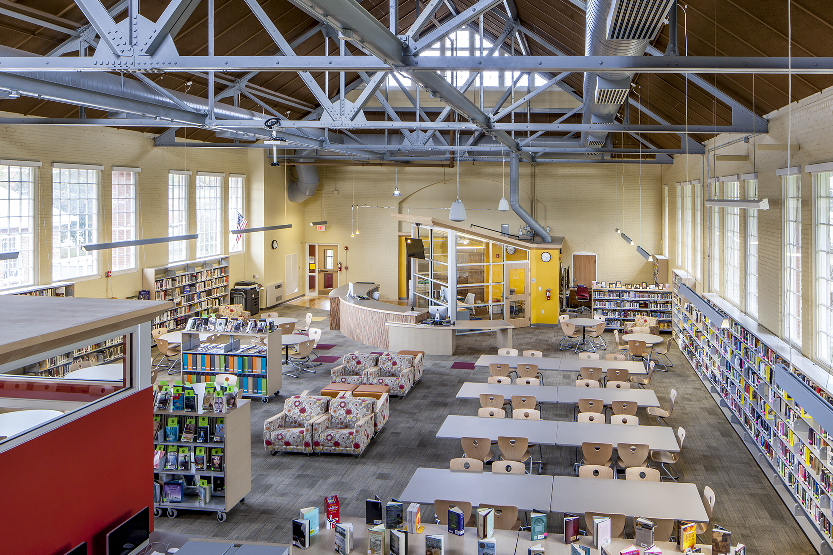 PDT renovated Thornton's 19-th century gymnasium into a spacious, light-filled learning commons.