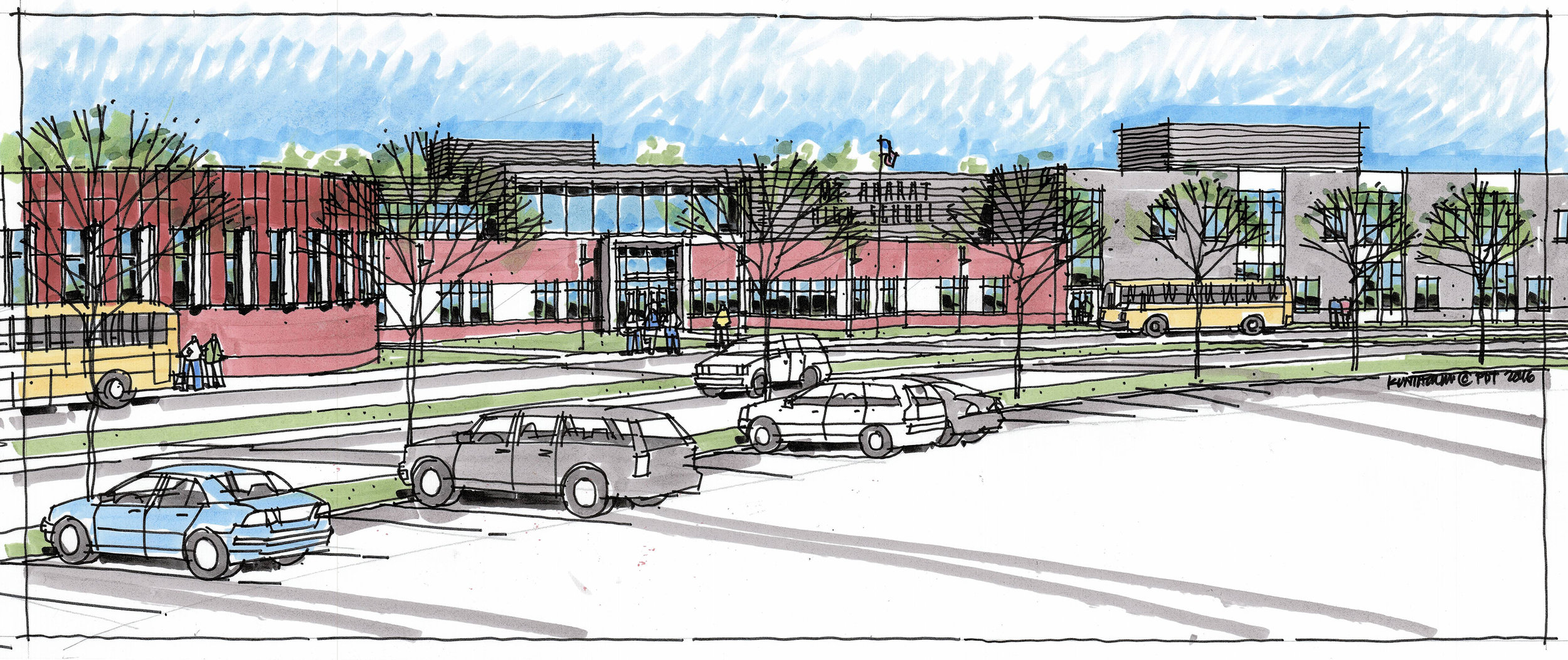 Hand renderings of key areas communicate the design intent to the client and the public during early design phases.