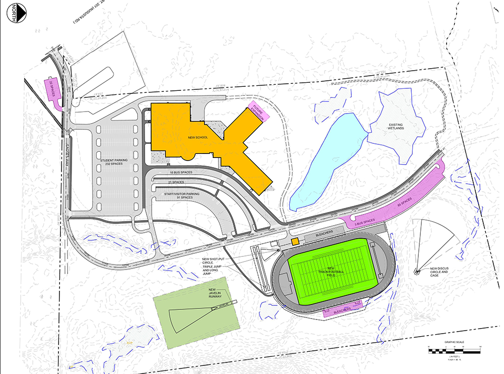 This approved site plan shows the new school in orange and the new track and football field where the old school will be demolished. The resulting design minimizes disruptions to students, protects and enhances the natural context, and provides a safe and accessible facility.