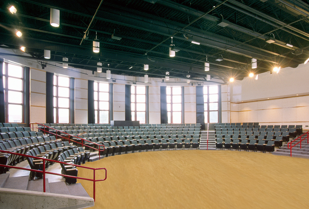 The forum is a 300-seat 180-degree theater in the round offering flexibility for a wide range of presentations.