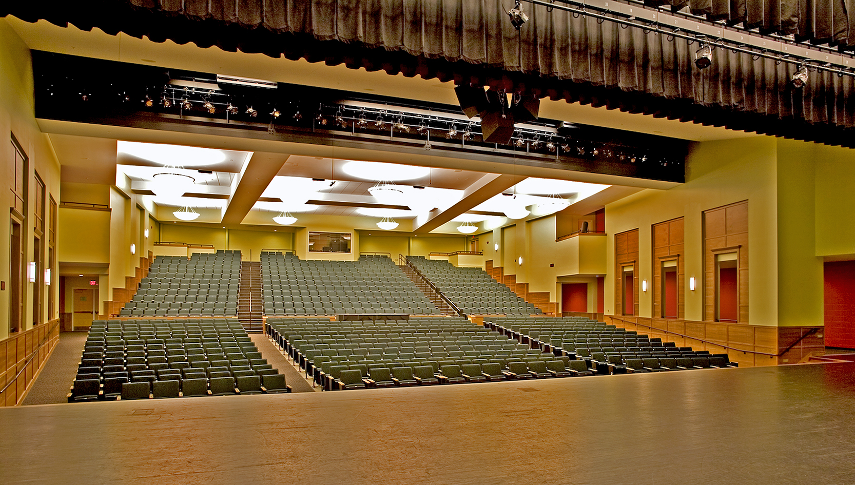 Cony's William and Elsie Viles Auditorium seats 950, with a sound/light booth in the back and a public lobby that doubles as an art gallery.