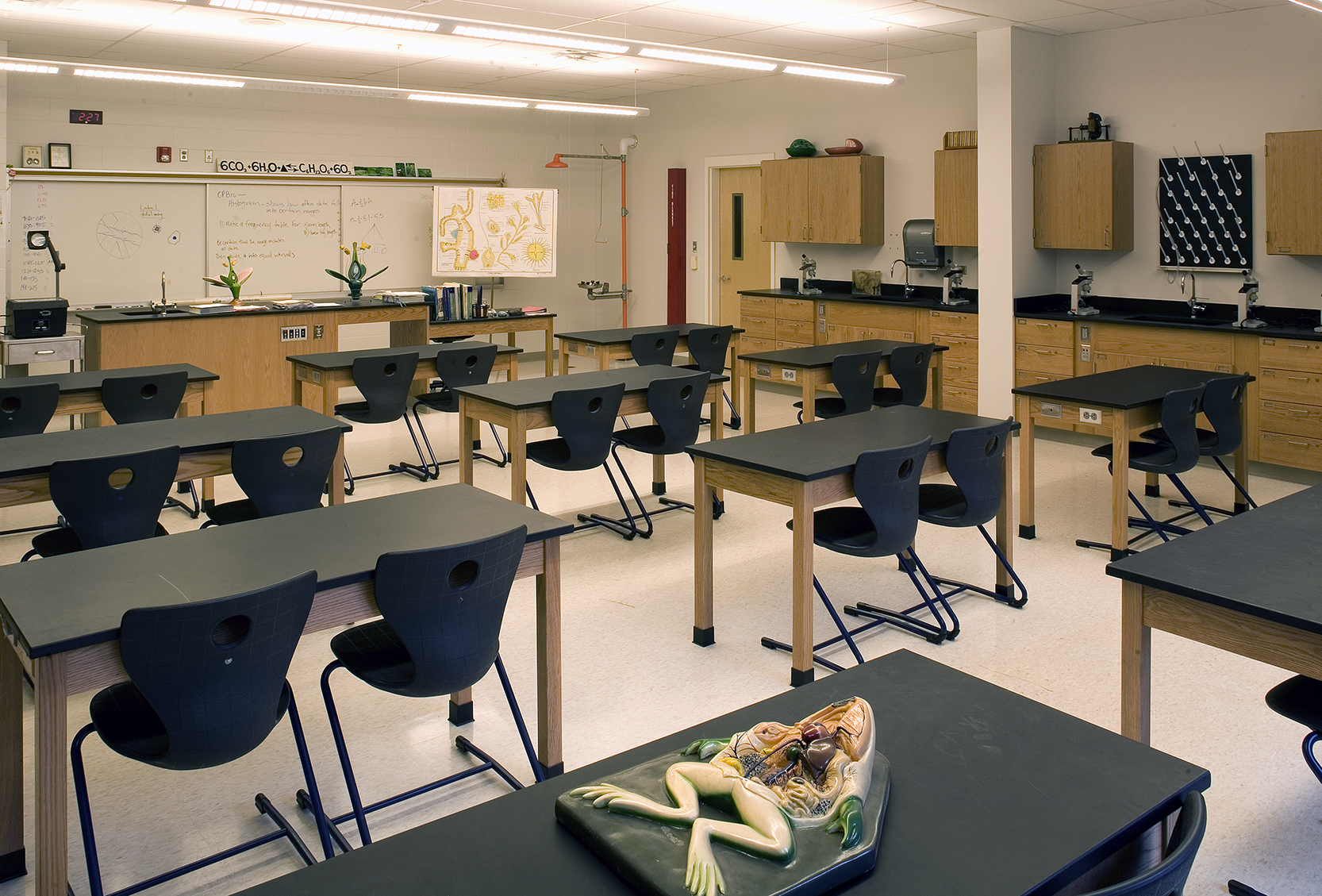 Chemistry classrooms feature eye-washing stations and flexible furniture that can be regrouped as needed.