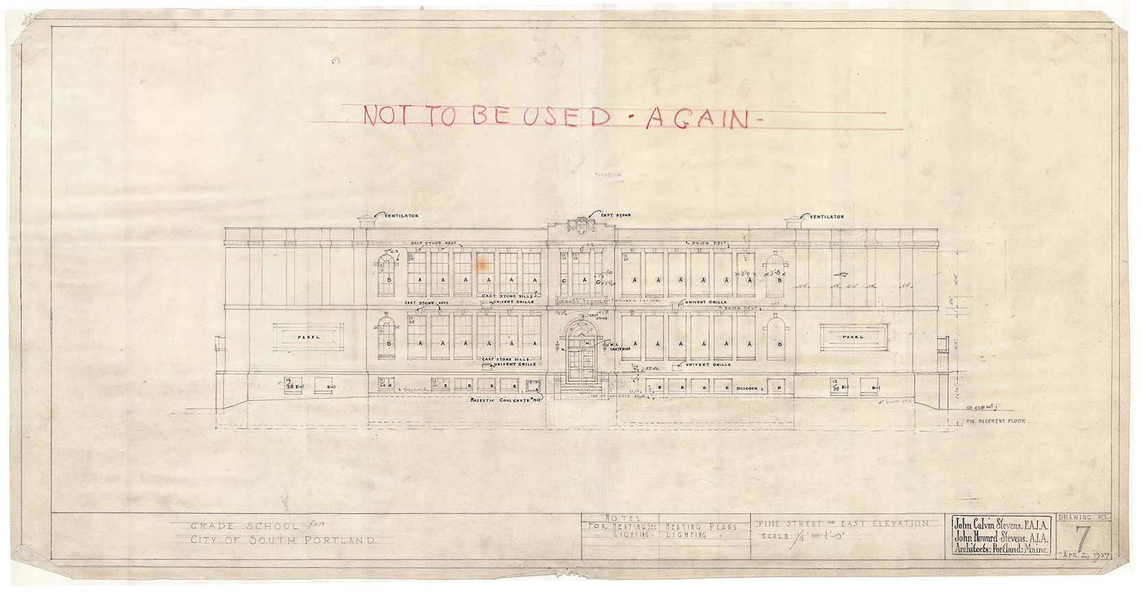 One of John Calvin Stevens's original drawings for the Roosevelt School. Courtesy of Wright-Ryan Construction and Maine Historical Society.