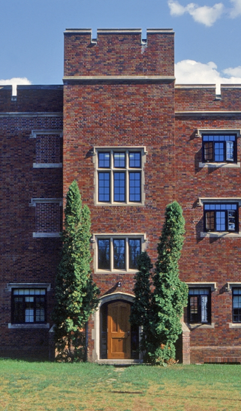 Architect William Ferris Price of Philadelphia designed the complex in stages for the Oak Grove School. Arched windows and doors, crenellated towers, and stone lintels are typical of his English Tudor style.