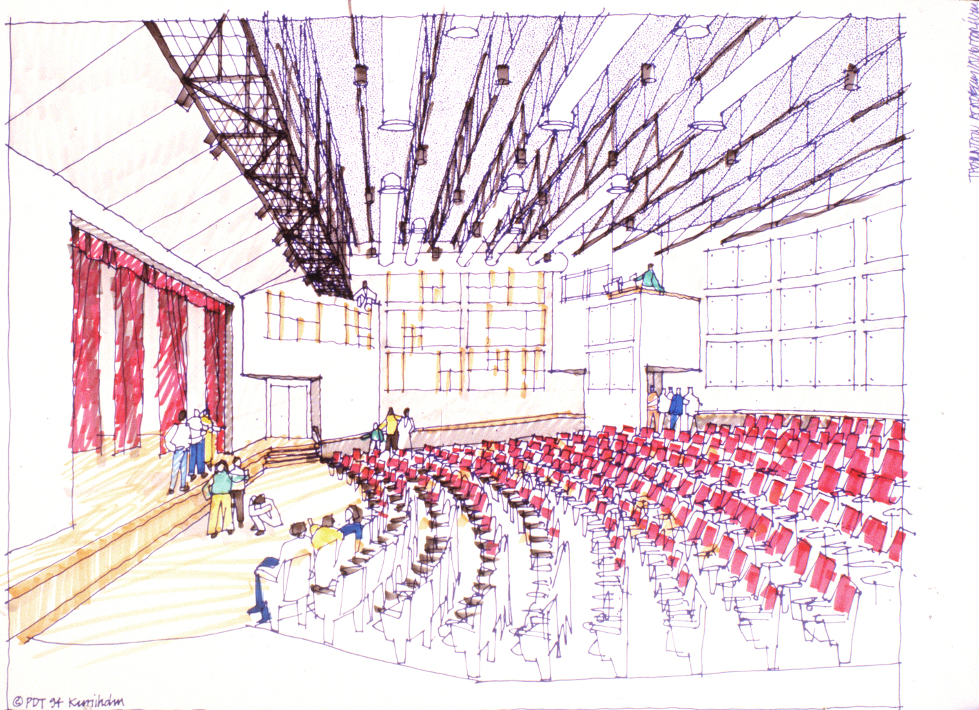 Interior planning sketch, Garland Auditorium, Thornton Academy, Saco, Maine