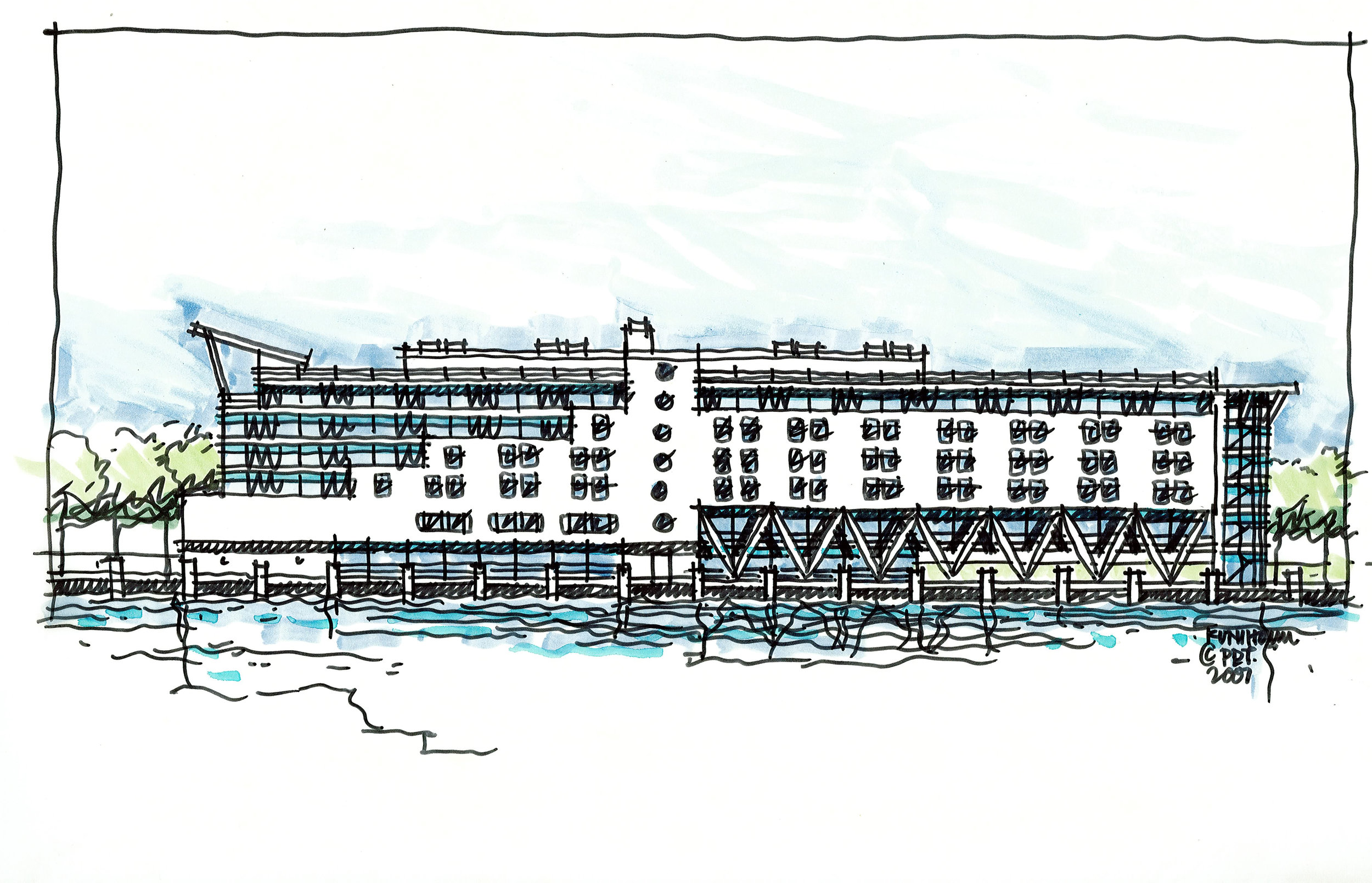 Elevation renderings, proposed hotel, Maine State Pier, Portland