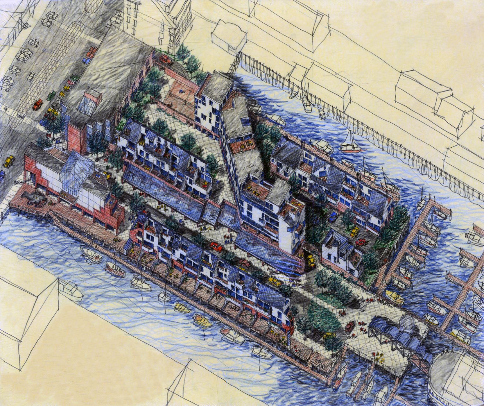 Birdseye view, proposed redevelopment of DiMillo's Wharf, Portland, 1970s