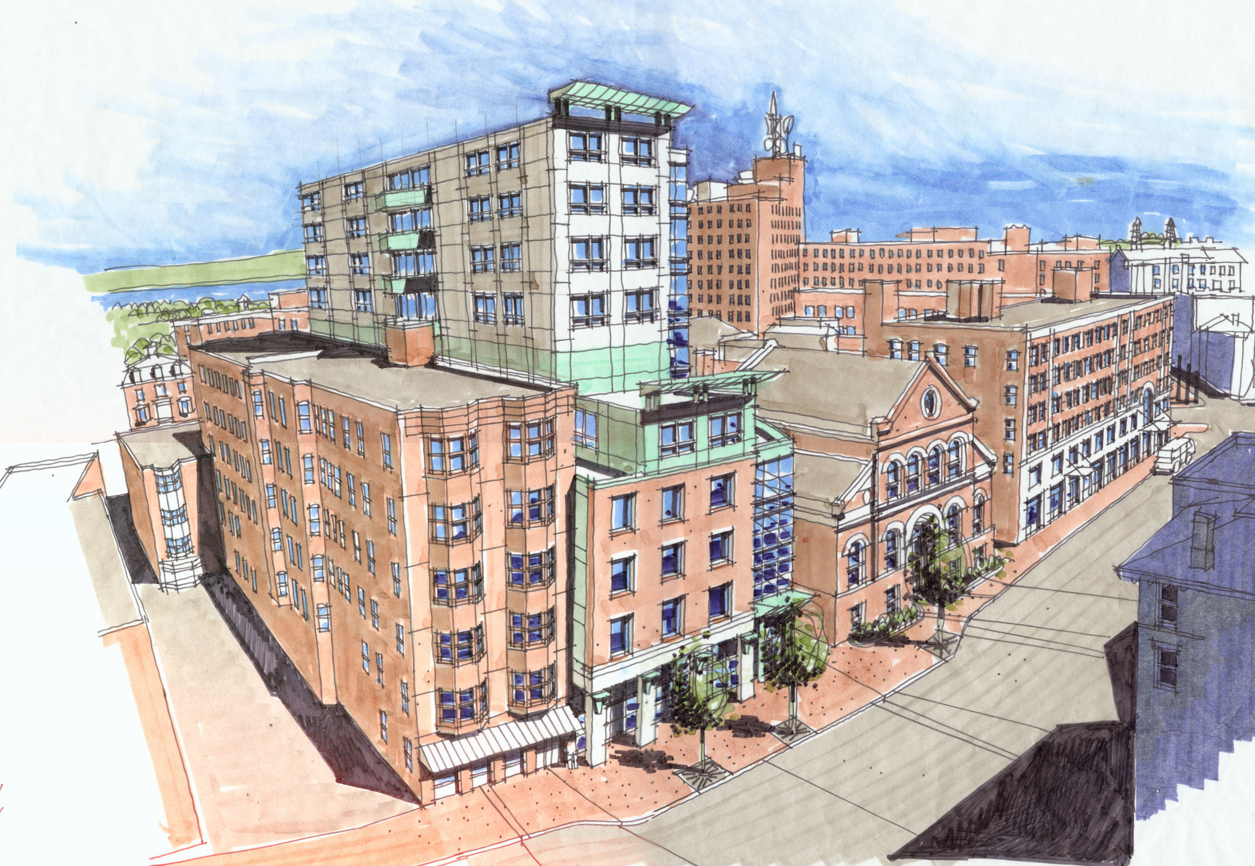 Perspective sketch, proposed renovation of Congress Hall, Congress Street, Portland