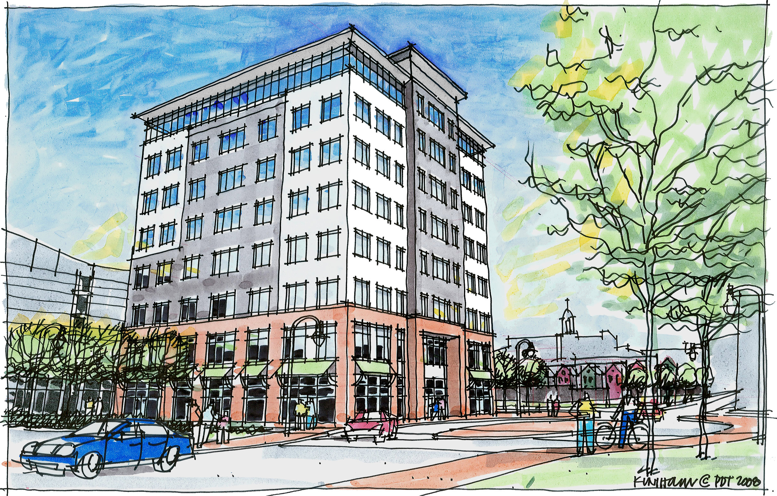 Building rendering, Bayside Office Building, Portland, Maine