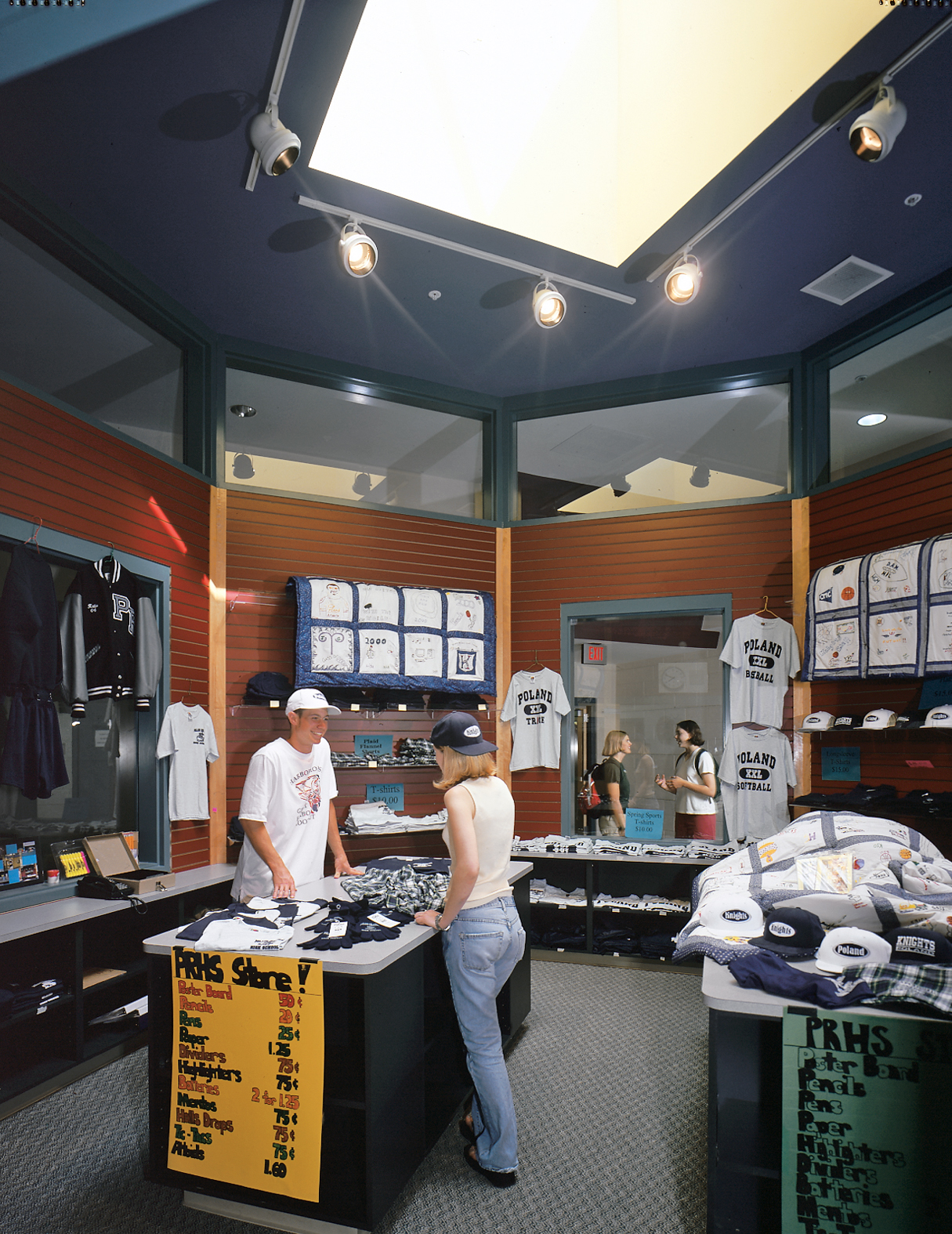 The Knights school store, run by students, is a bright, prominent kiosk in the commons.