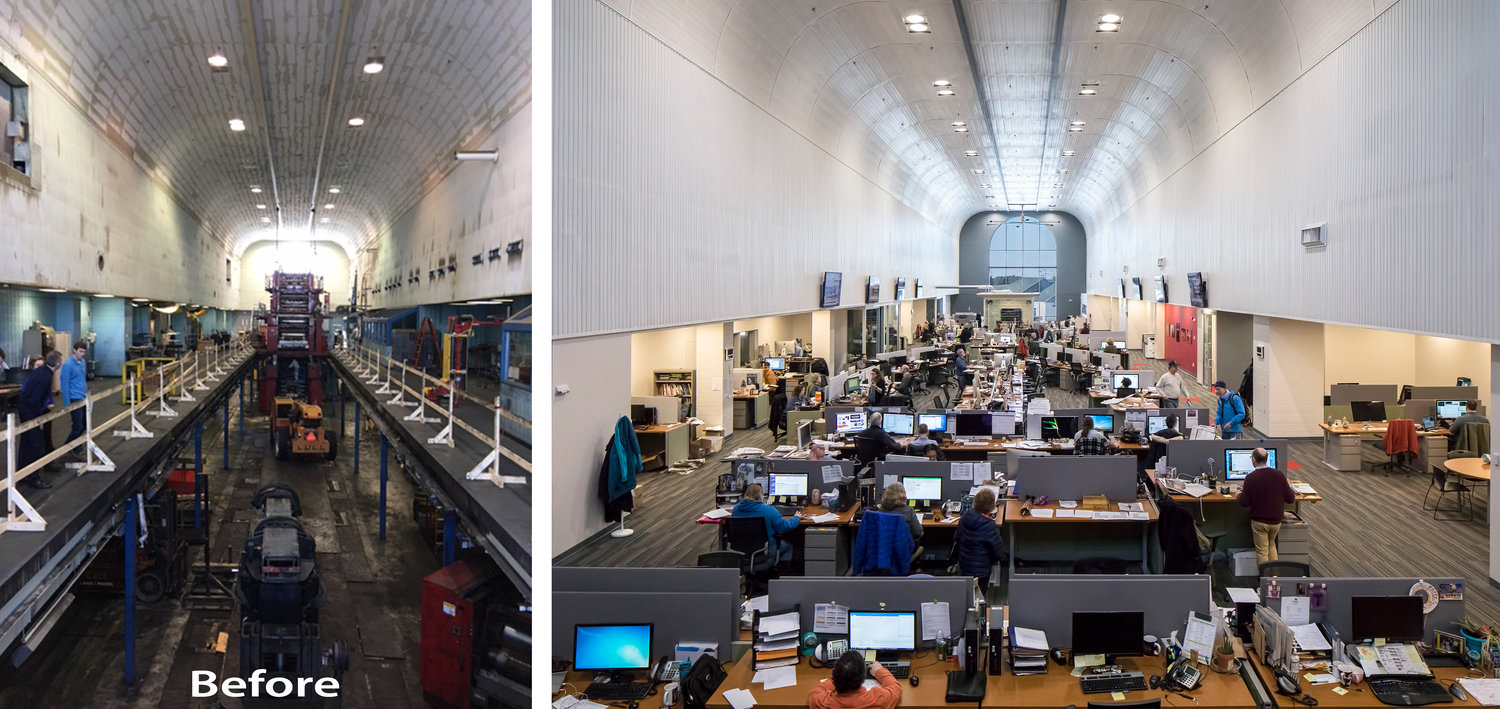 Portland Press Herald's newsroom is seen before and after its transformation.
