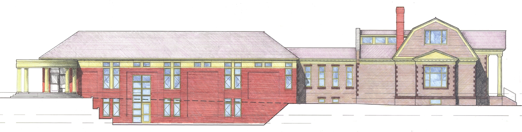 Planning elevation, south side of Baxter Memorial Library, Gorham, Maine