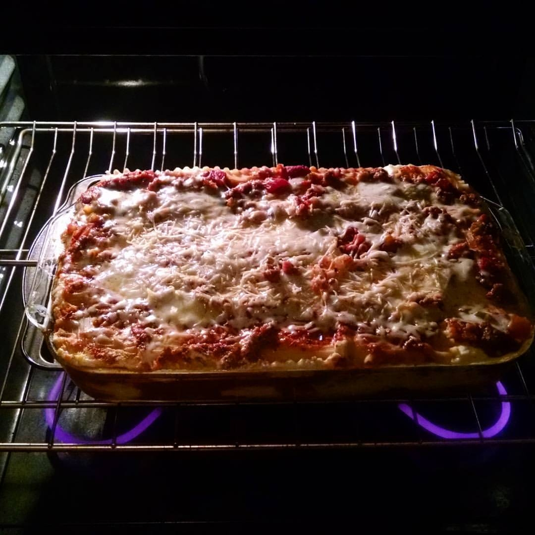 This is a lasagna. - I made it. It was good.I burned myself on it. I guess that's life.