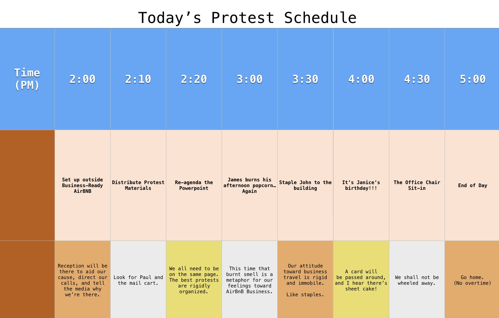 We created a mock protest schedule.