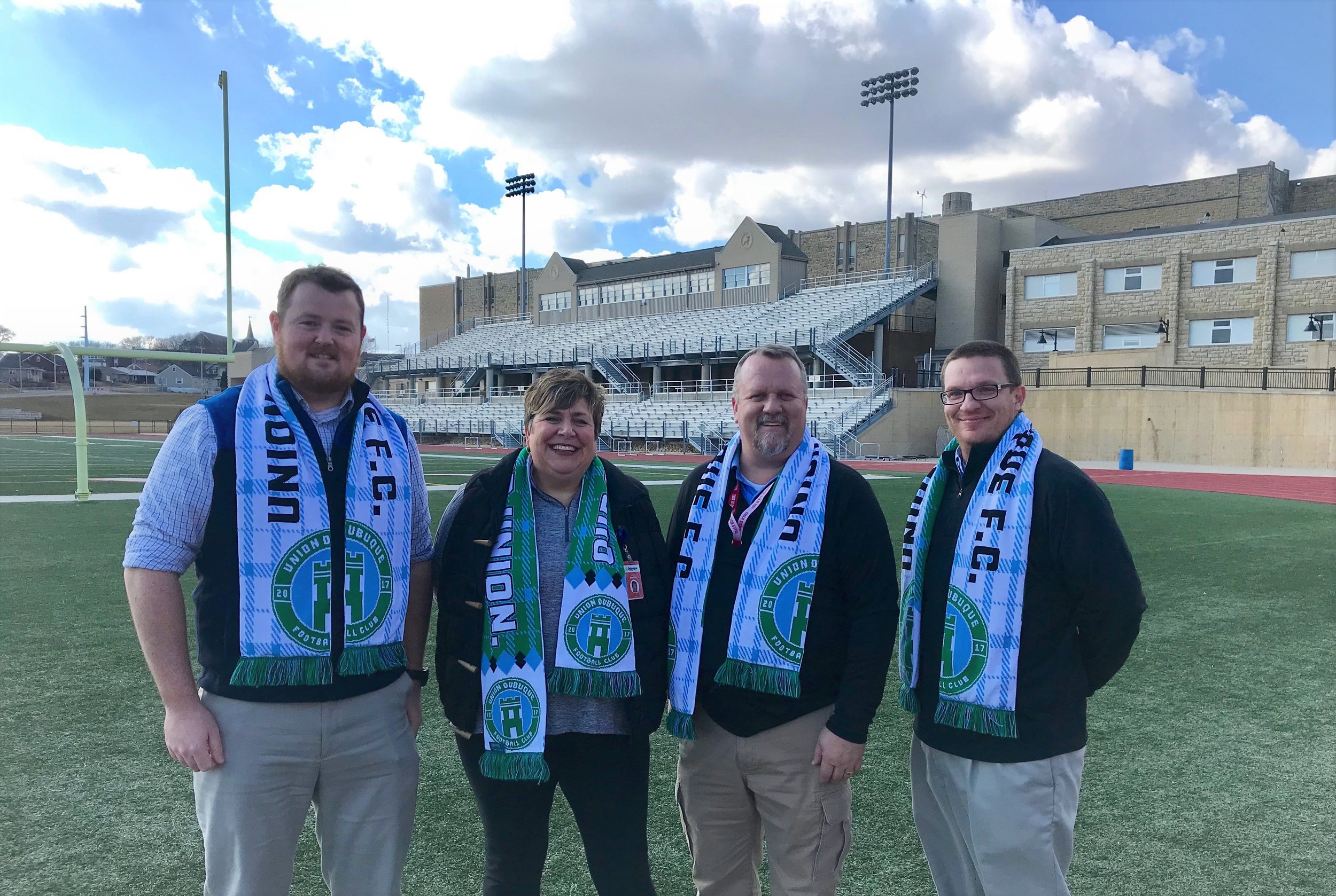 (L-R) Cliff Conrad, Union Dubuque F.C. President; Amy Hawkins, DCSD Activities and Athletics Director; Brent Cook, DSHS Activities Director; and Jon Denham, Union Dubuque F.C. Manager