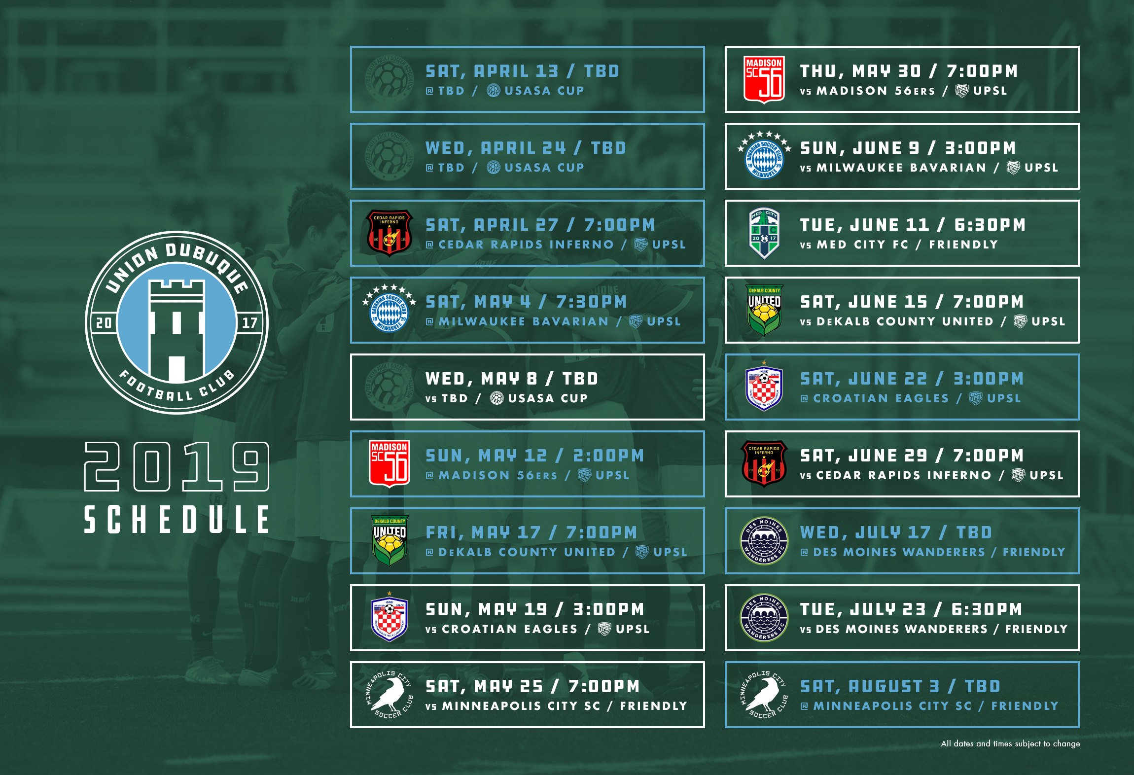 UnionDubuque2019Schedule