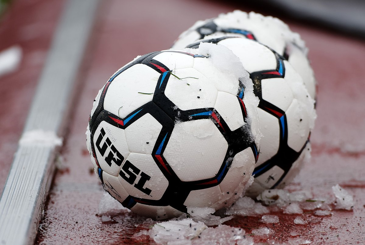 Snow-covered match balls just before kickoff. Changes to the UPSL schedule forced teams into an early start this year, which opens the door for weather-related issues early in the season.  PC: Stephen Packer