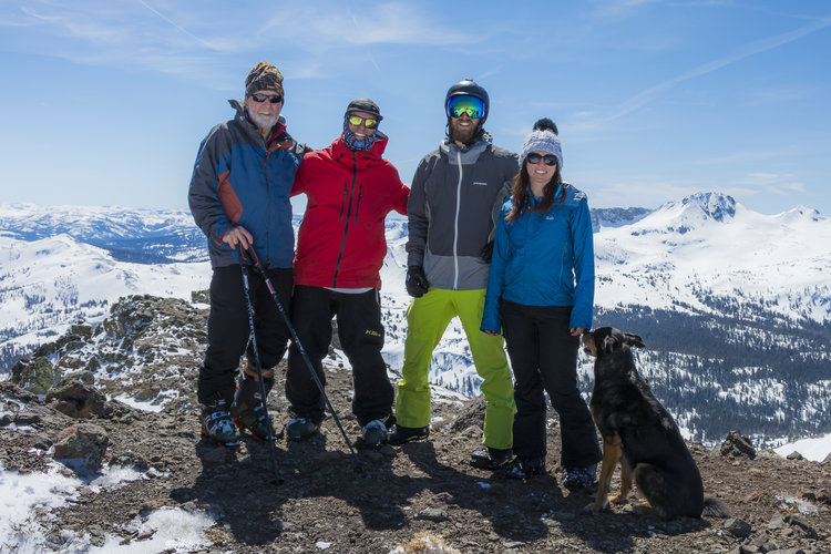 Atop Red Lake Peak (10,069') just south of Lake Tahoe, April 1, 2017: the author, Tom Civitano, Patrick English, Cara Del Vecchio, and Diego the Adventure Dog.
