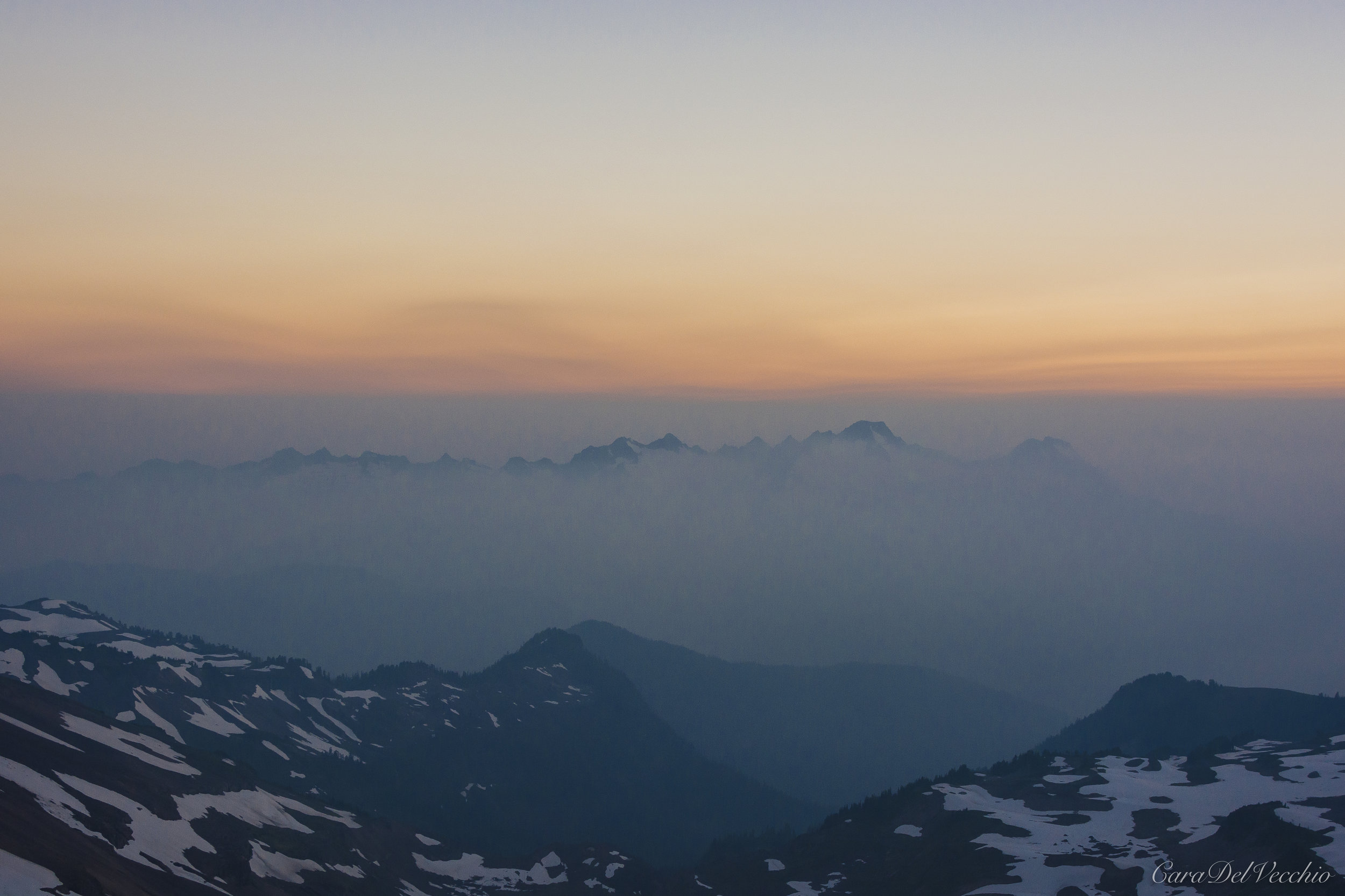 Smoke from over a million-acre wildfire in British Columbia painted the vista in varying shades of gray.
