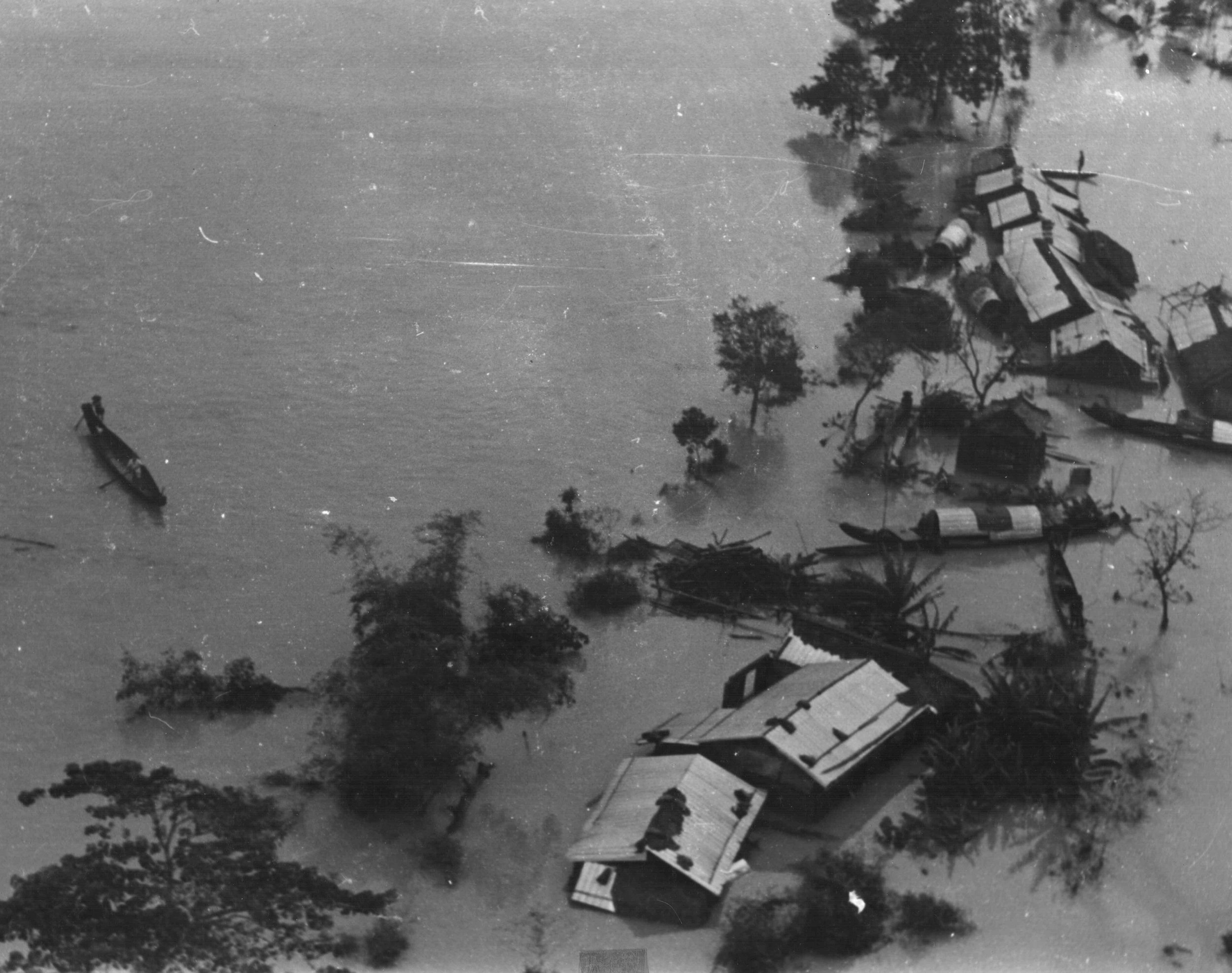 When a typhoon hit the northern part of South Vietnam in late 1970 many of the combat operations in western I Corps were suspended while troops from the 101st Airborne Division aided villagers in the lowlands. Photo by the author.