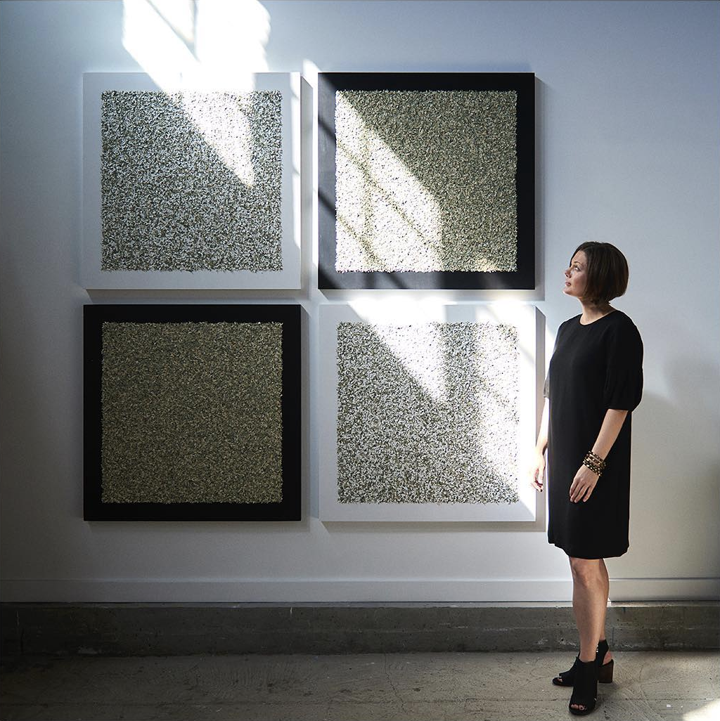 """Laura Hapka at Norton Factory Studios near Fruitvale BART in Oakland with her """"Money-Chrome"""" Series, 2018.   Want more? Find Laura on her website at   http://laurahapka.com  ."""